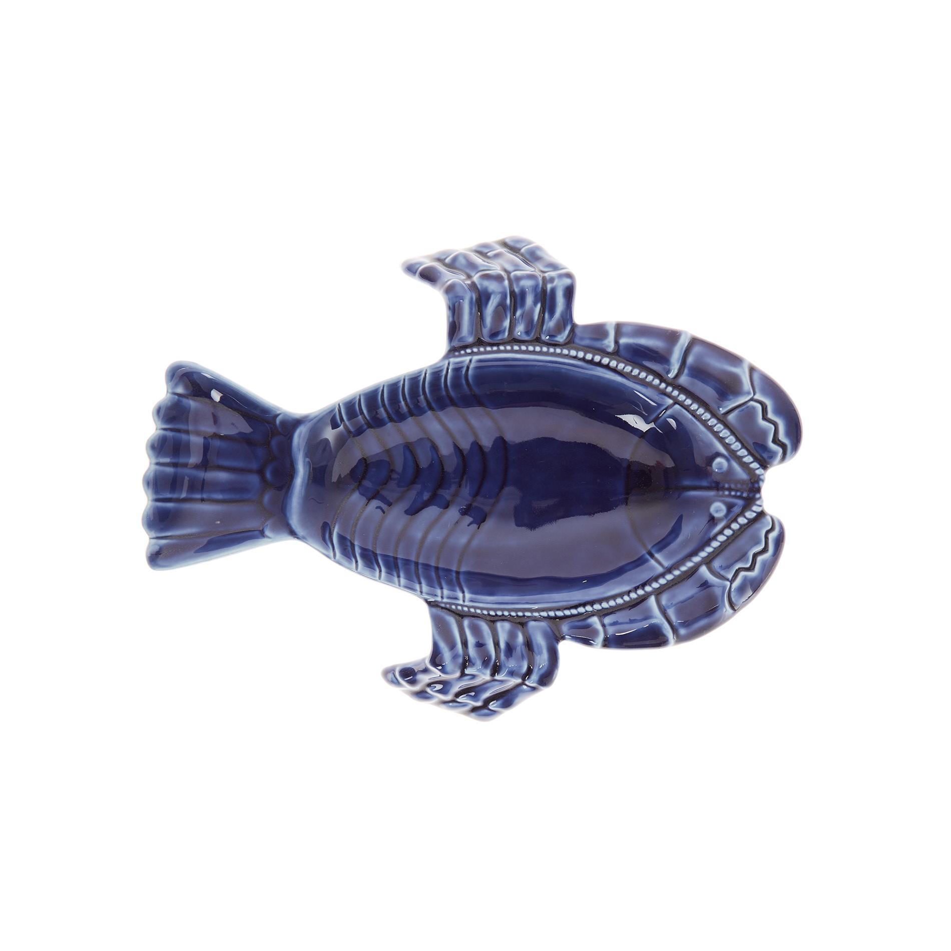 Lobster-shaped porcelain plate, Blue, large image number 0