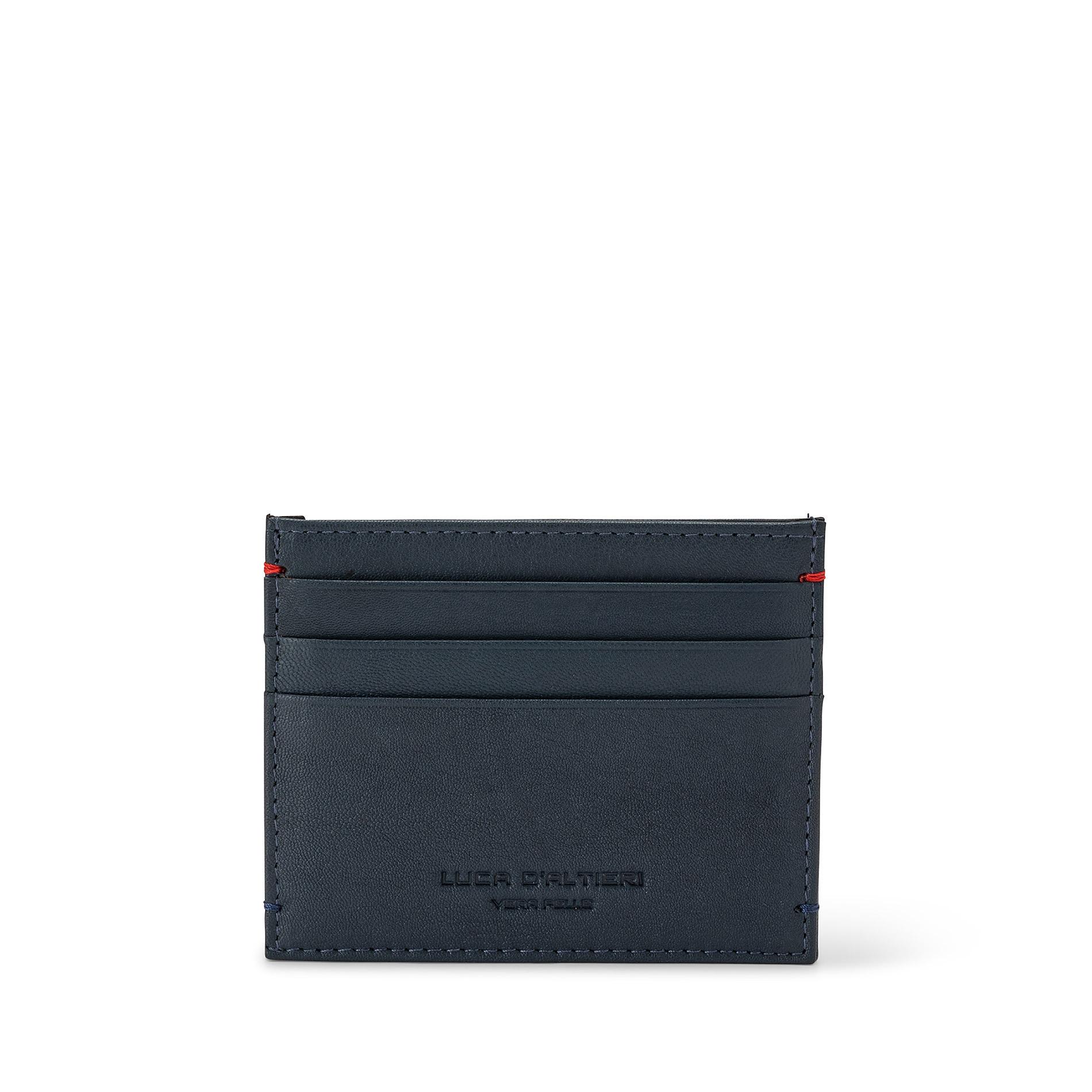 Porta carte di credito in pelle Luca D'Altieri, Blu, large image number 0