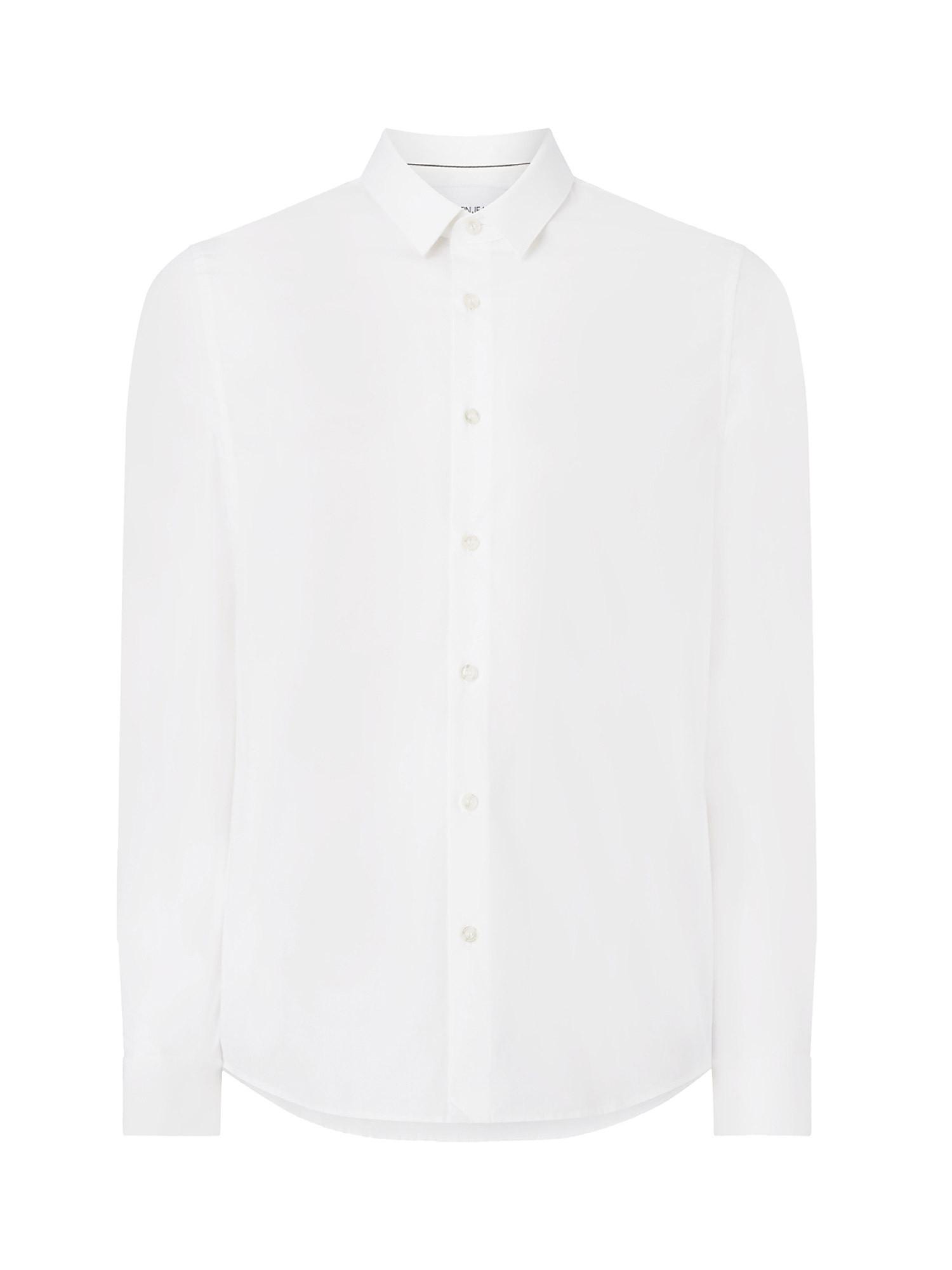 Camicia in cotone elasticizzato, Bianco, large image number 0