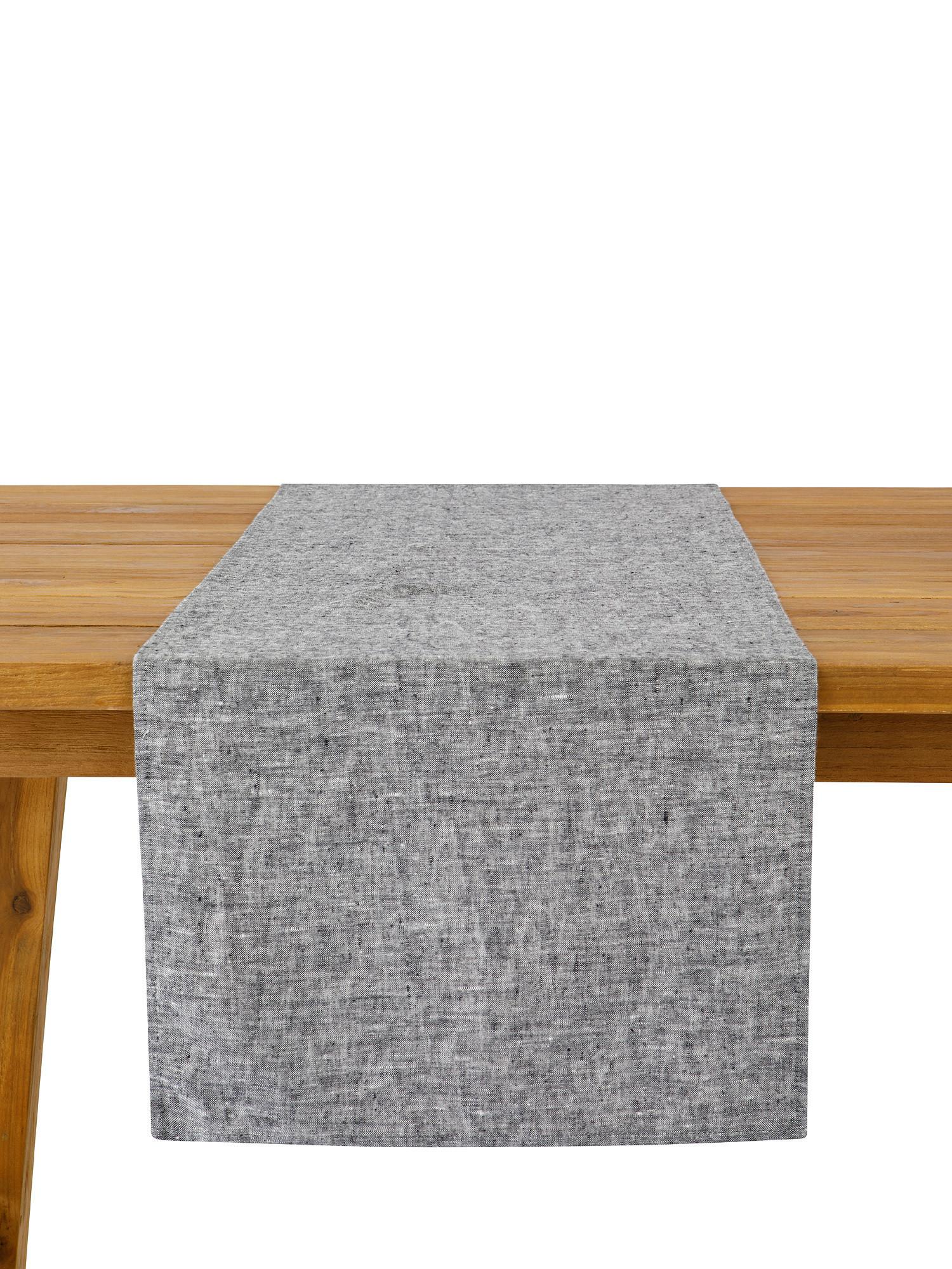 Runner lino lavato tinta unita, Grigio, large image number 0
