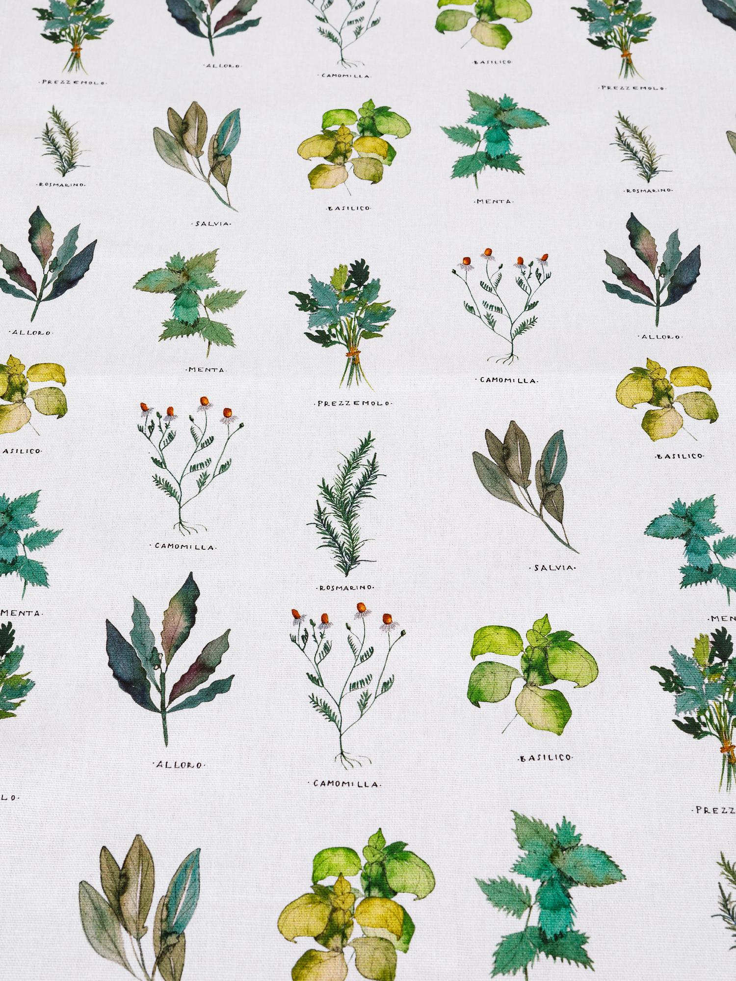 Runner puro cotone organico stampa erbe, Bianco, large image number 1