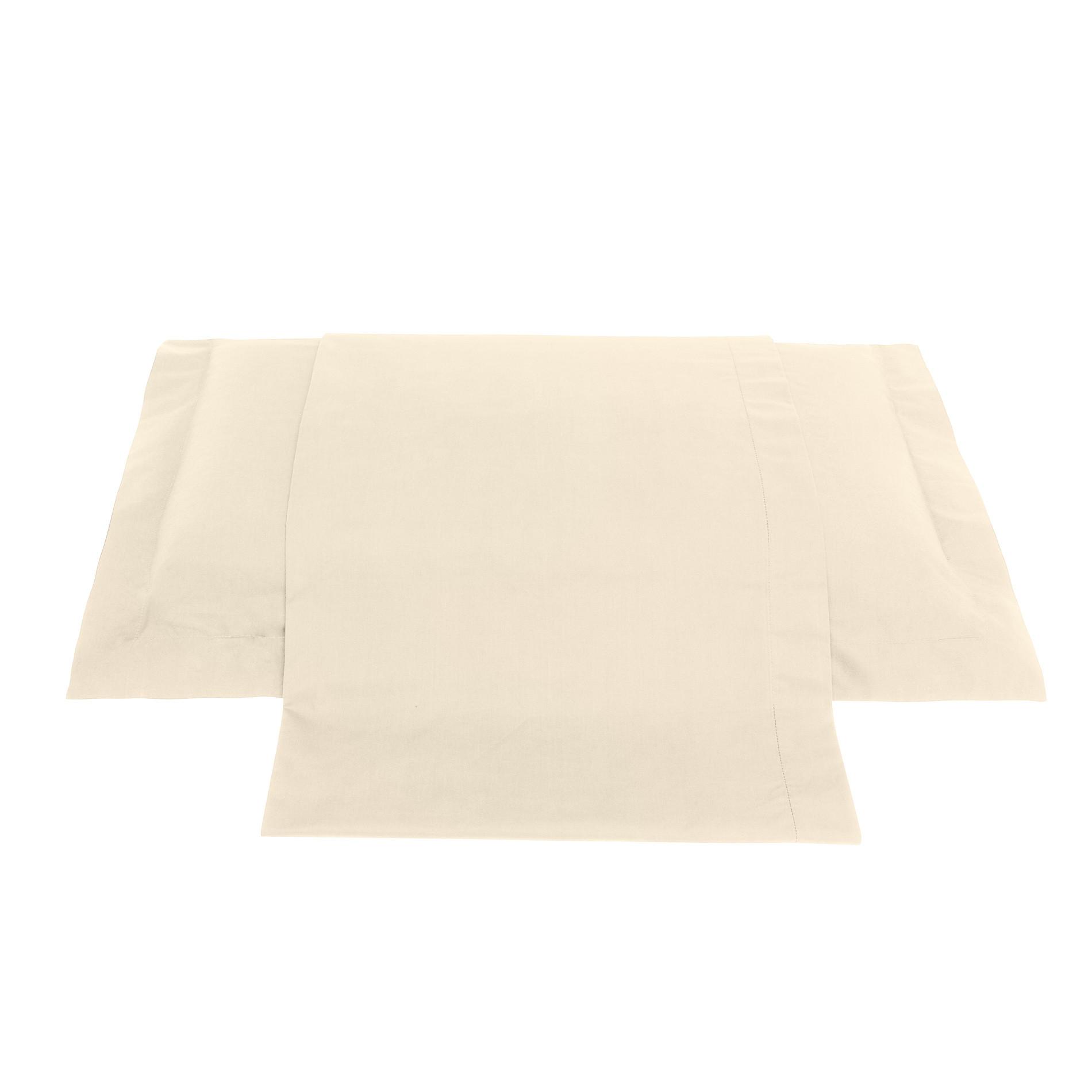 Lenzuolo liscio in percalle tinta unita Zefiro, Bianco avorio, large image number 0