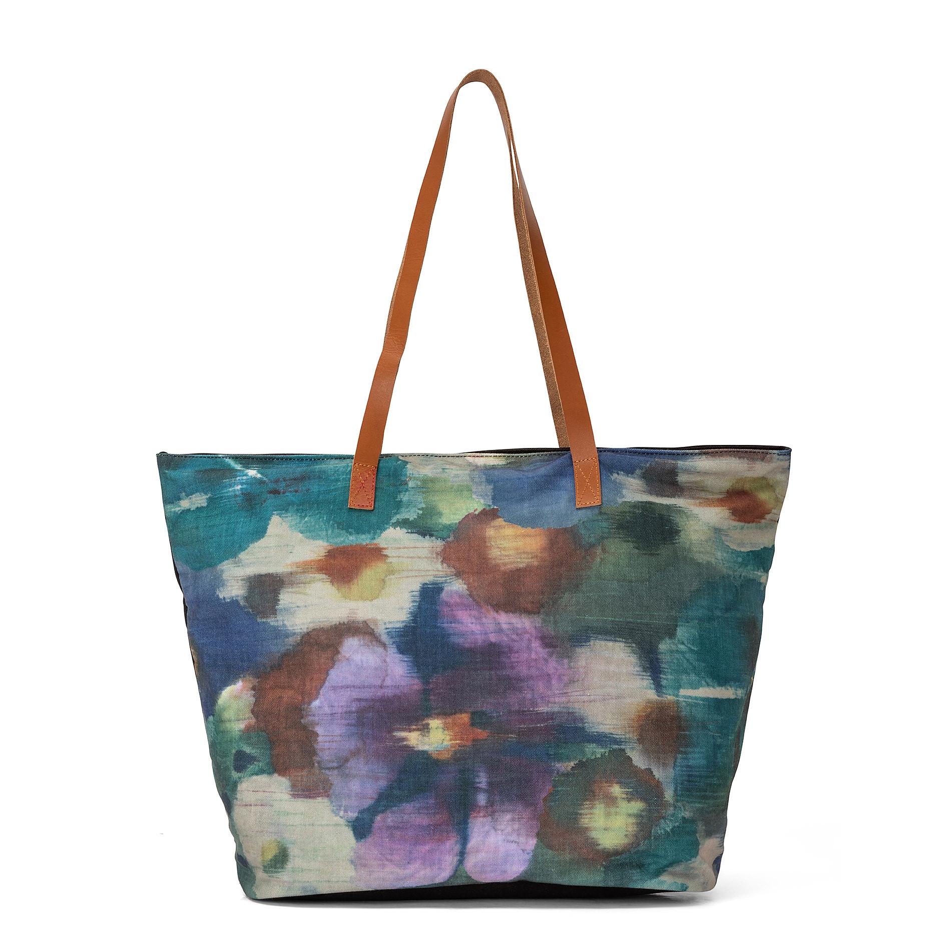 Shopper stampa floreale manici in pelle, Multicolor, large image number 0