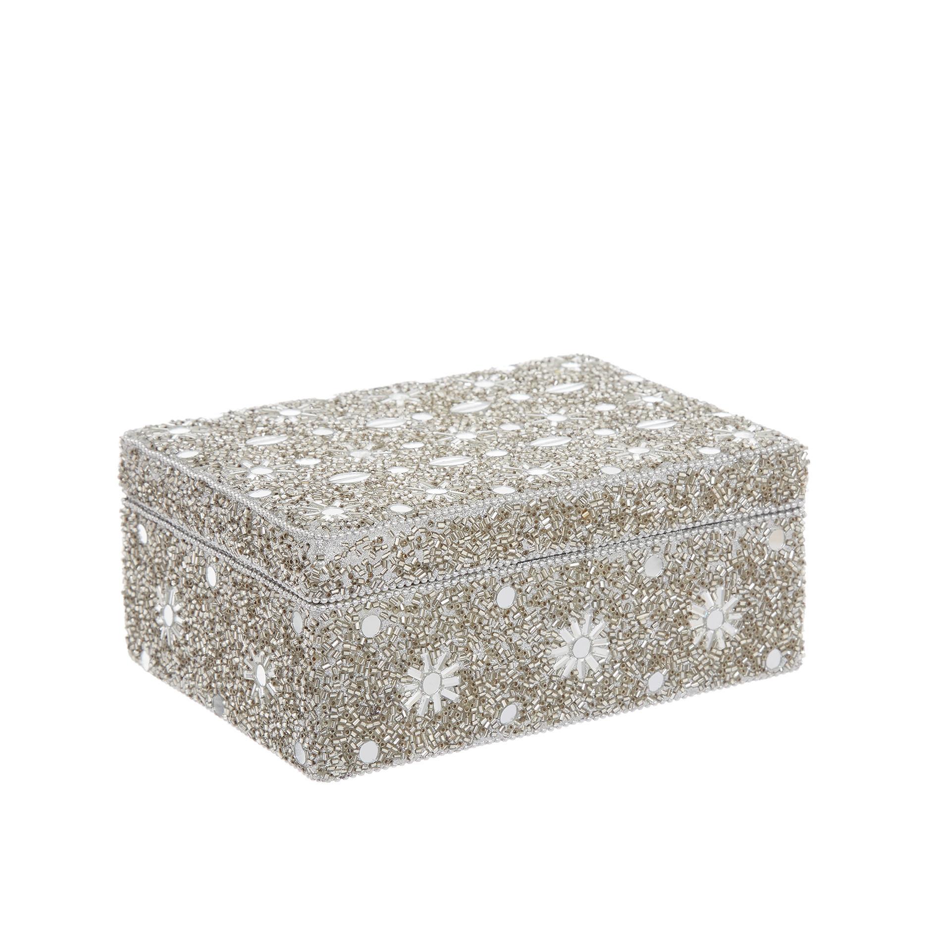Portagioie con perline fatto a mano, Grigio argento, large image number 0