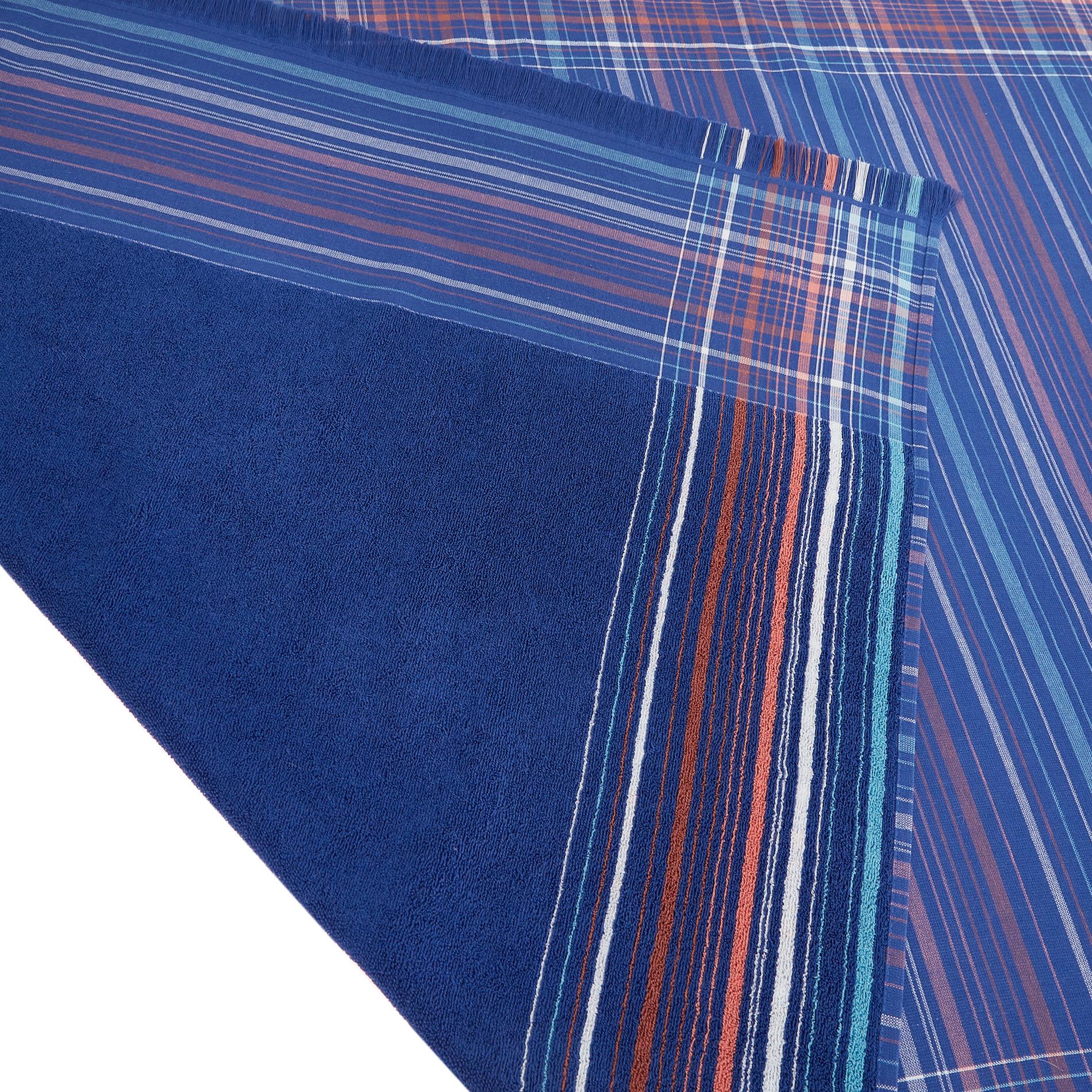 Telo mare hammam cotone tinto filo a righe, Blu, large image number 1