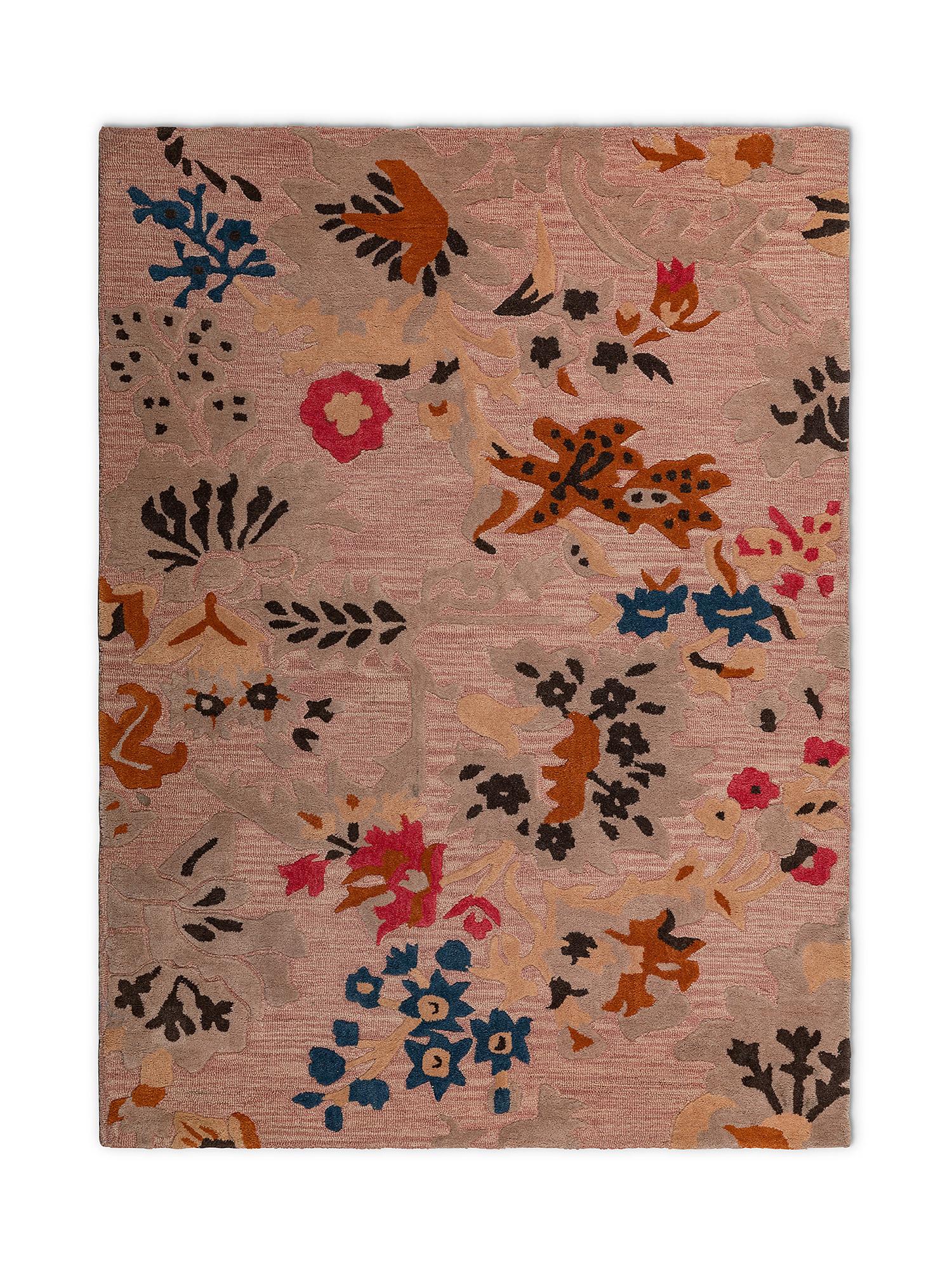 Tappeto lana motivo floreale lavorato a mano, Rosa, large image number 0
