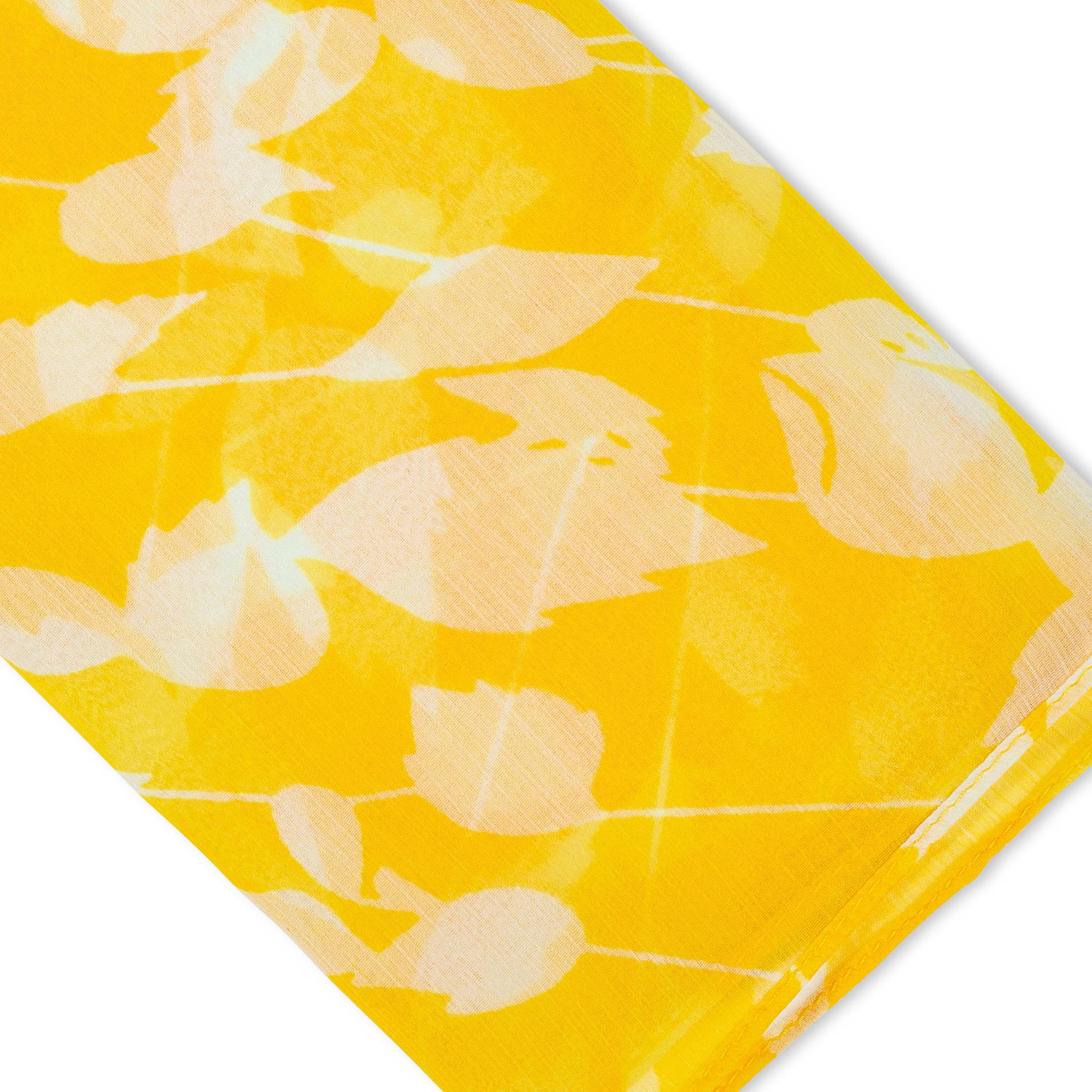Sciarpina stampa foglie Koan, Giallo, large image number 1