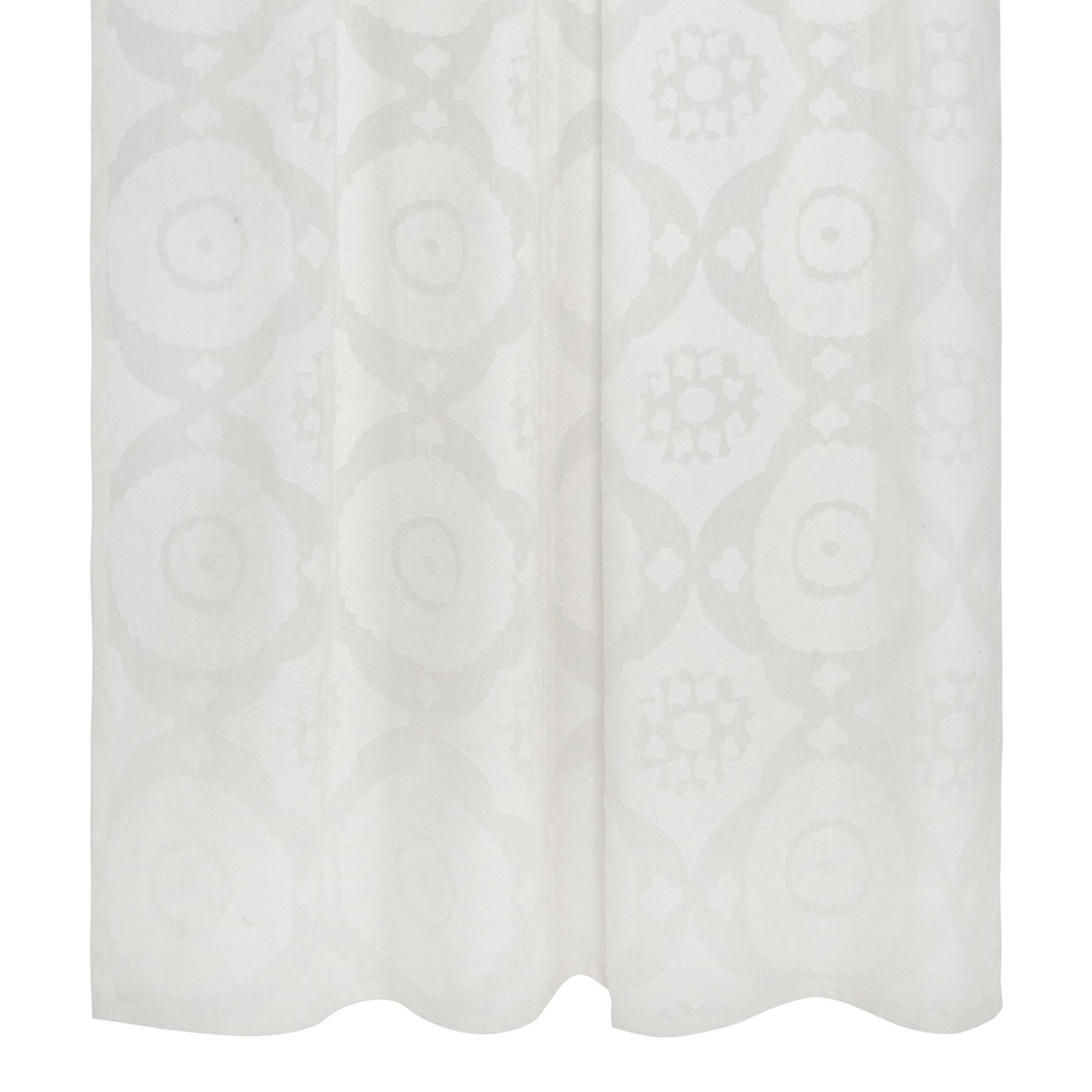 Tenda devore motivo geometrico passanti nascosti, Bianco, large image number 1