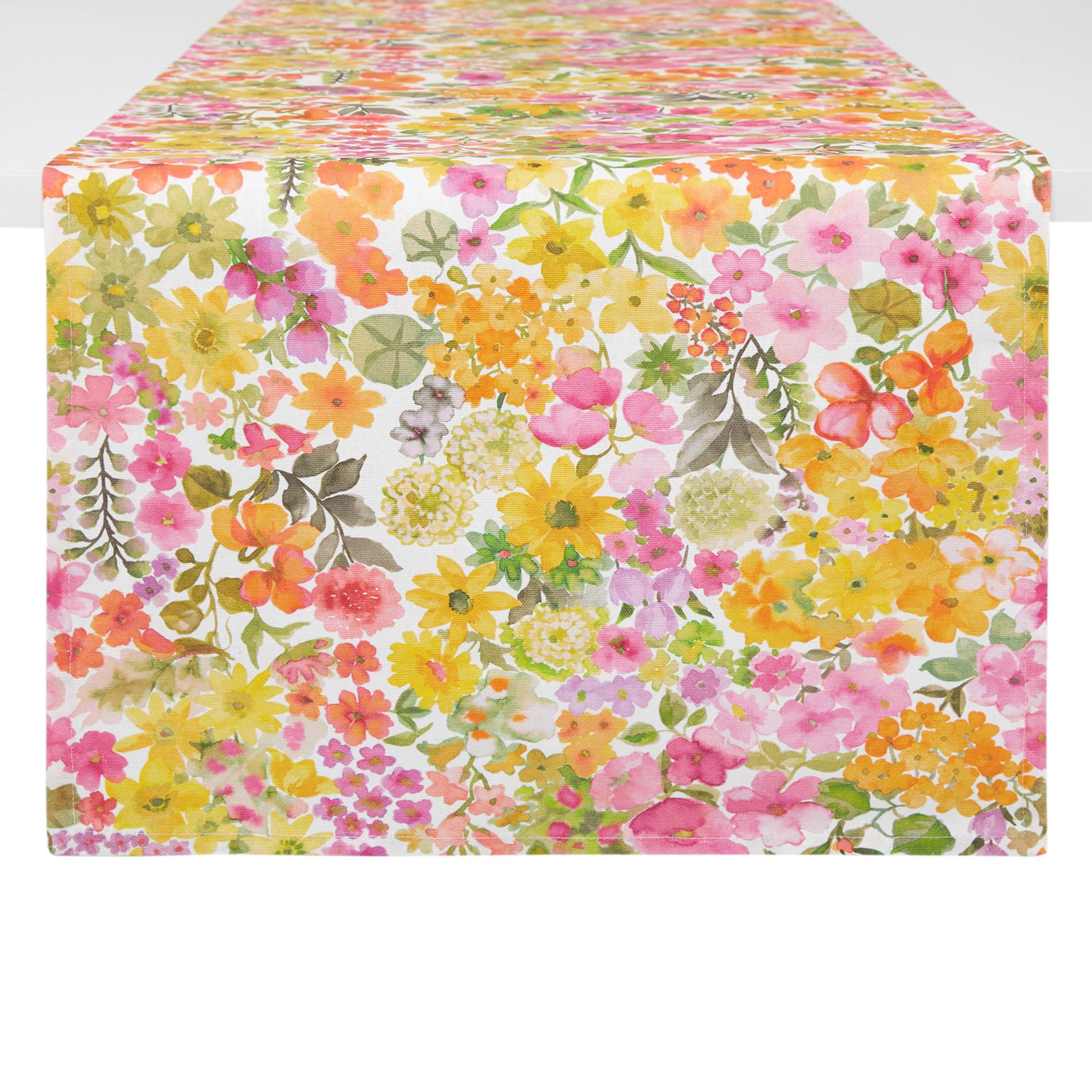 Runner puro cotone stampa fiorellini, Multicolor, large image number 0