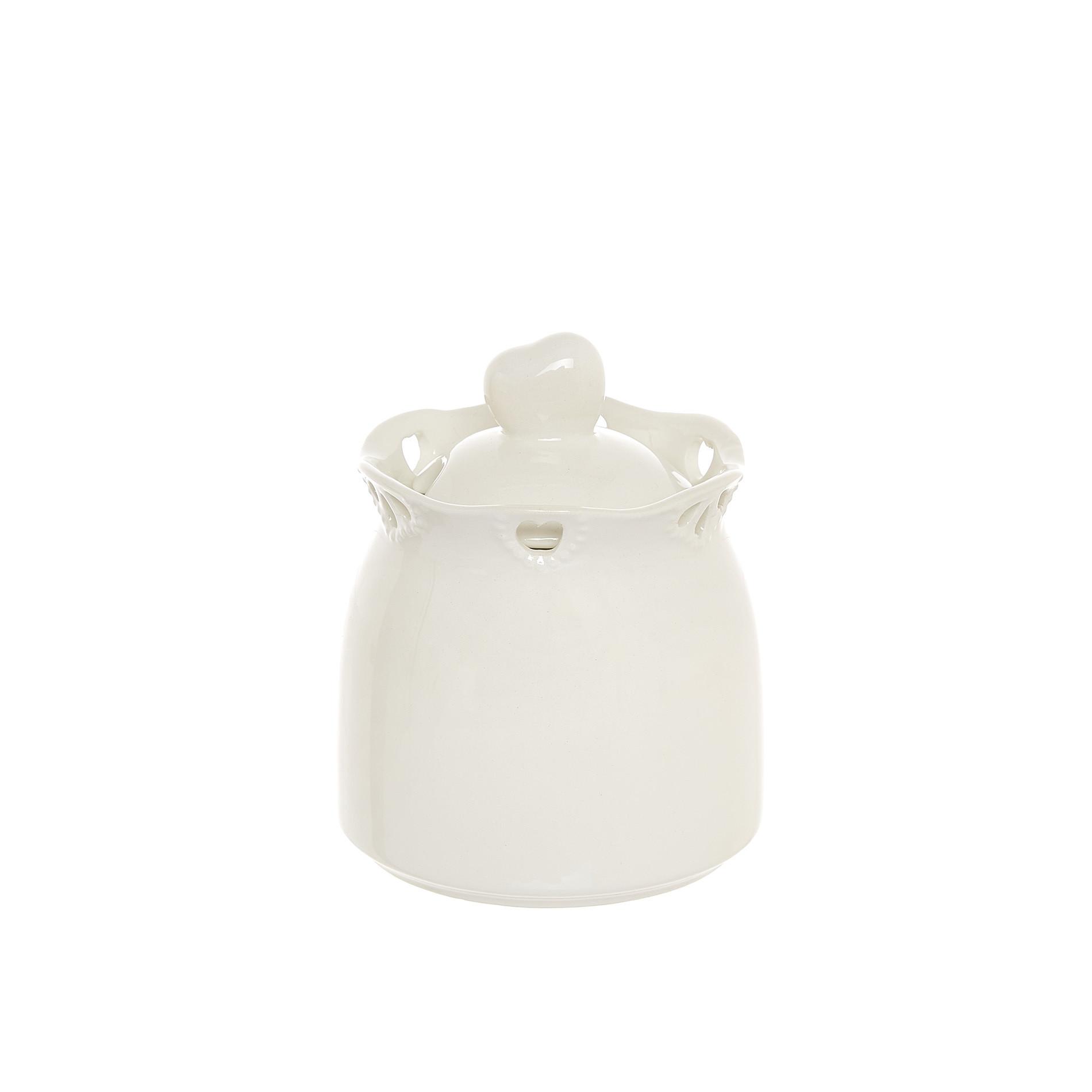 Zuccheriera ceramica traforata, Bianco, large image number 0