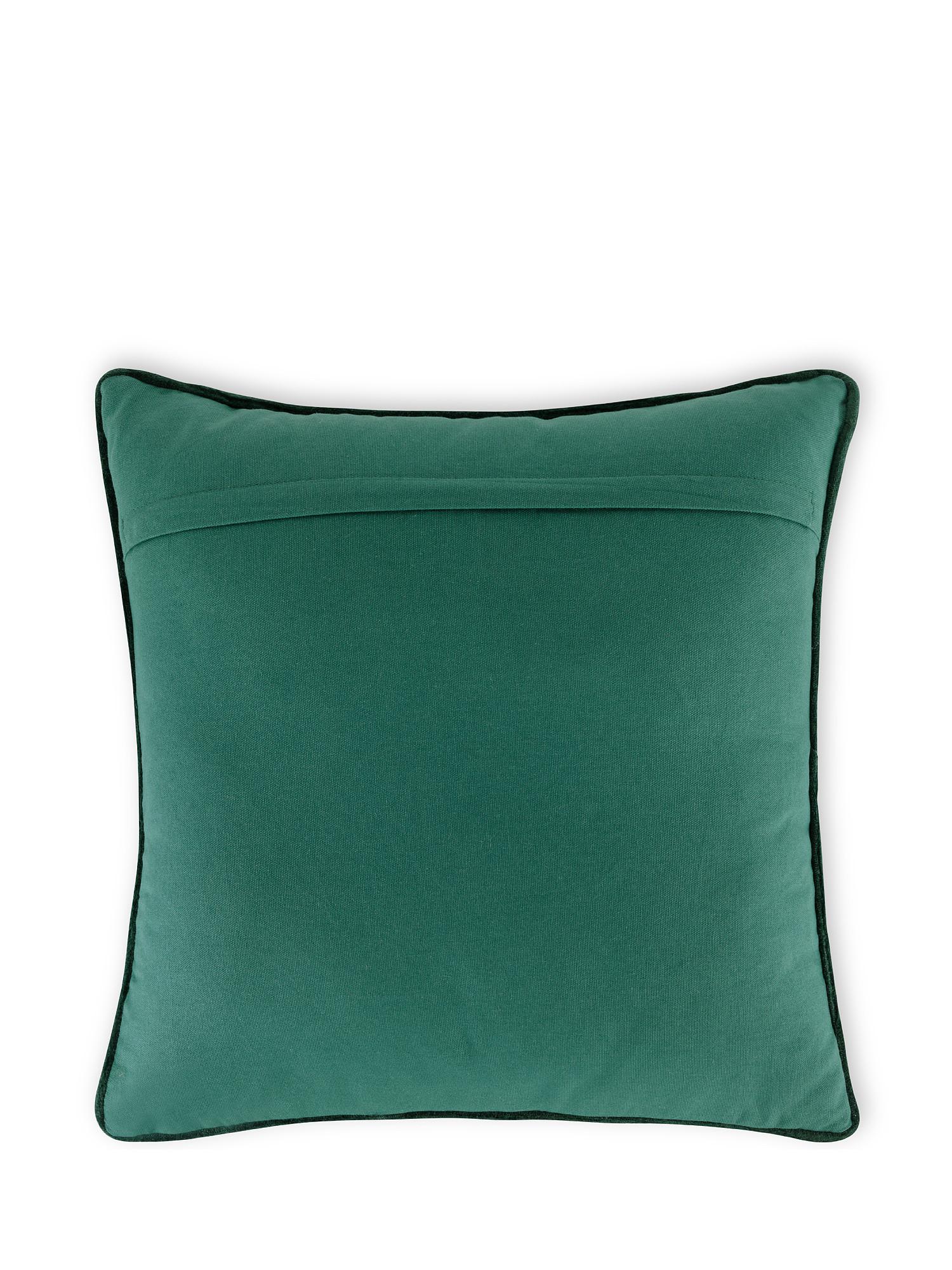 Cuscino velluto motivo foglie 45x45cm, Verde, large image number 1