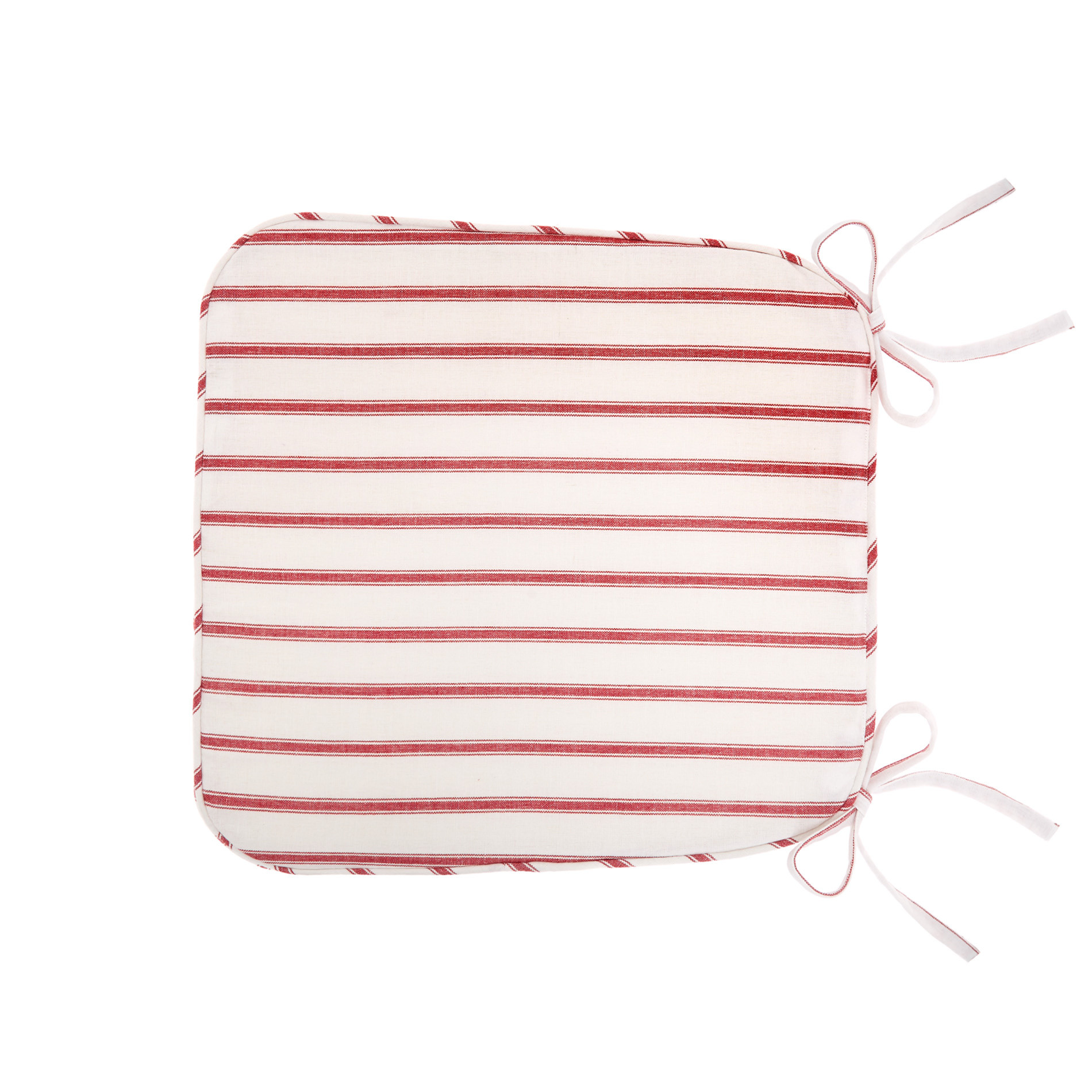 Cuscino da cucina puro cotone a righe, Rosso, large image number 0