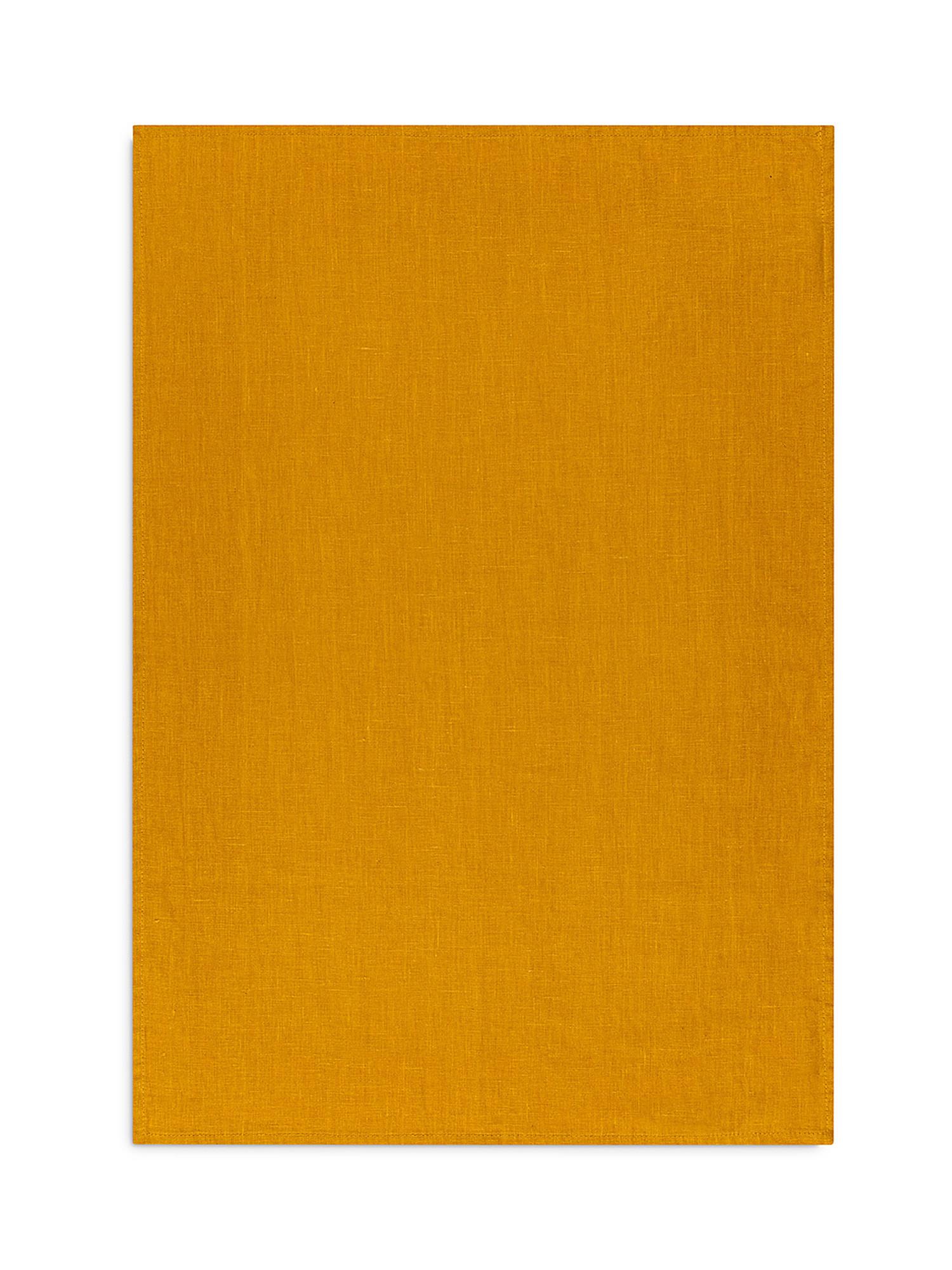 Strofinaccio lino lavato tinta unita, Giallo ocra, large image number 1