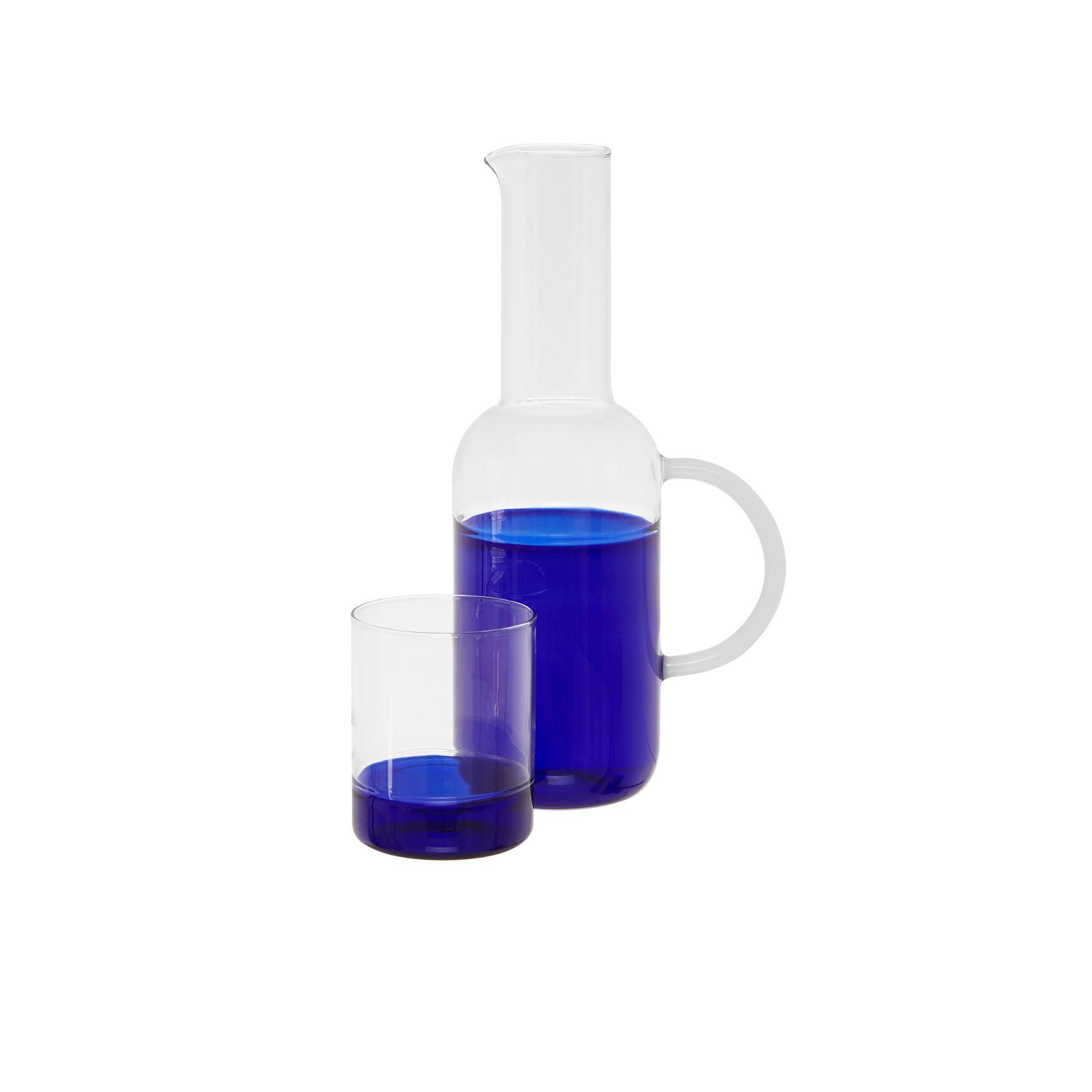 Bicchiere vetro base colorata, Bianco/Blu, large image number 1