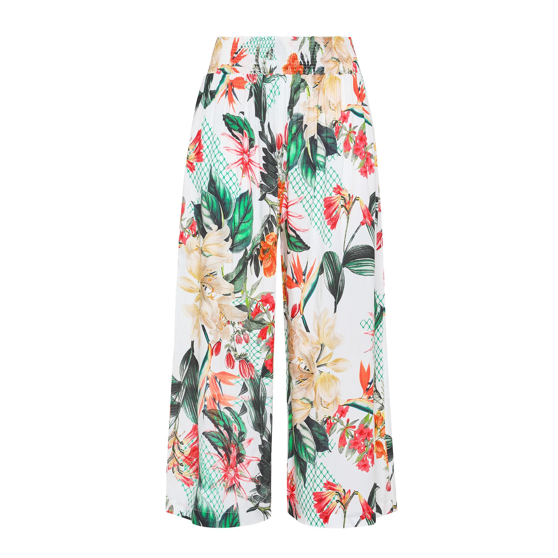 Pantalone ampio in viscosa stampa floreale, Multicolor, large image number 1