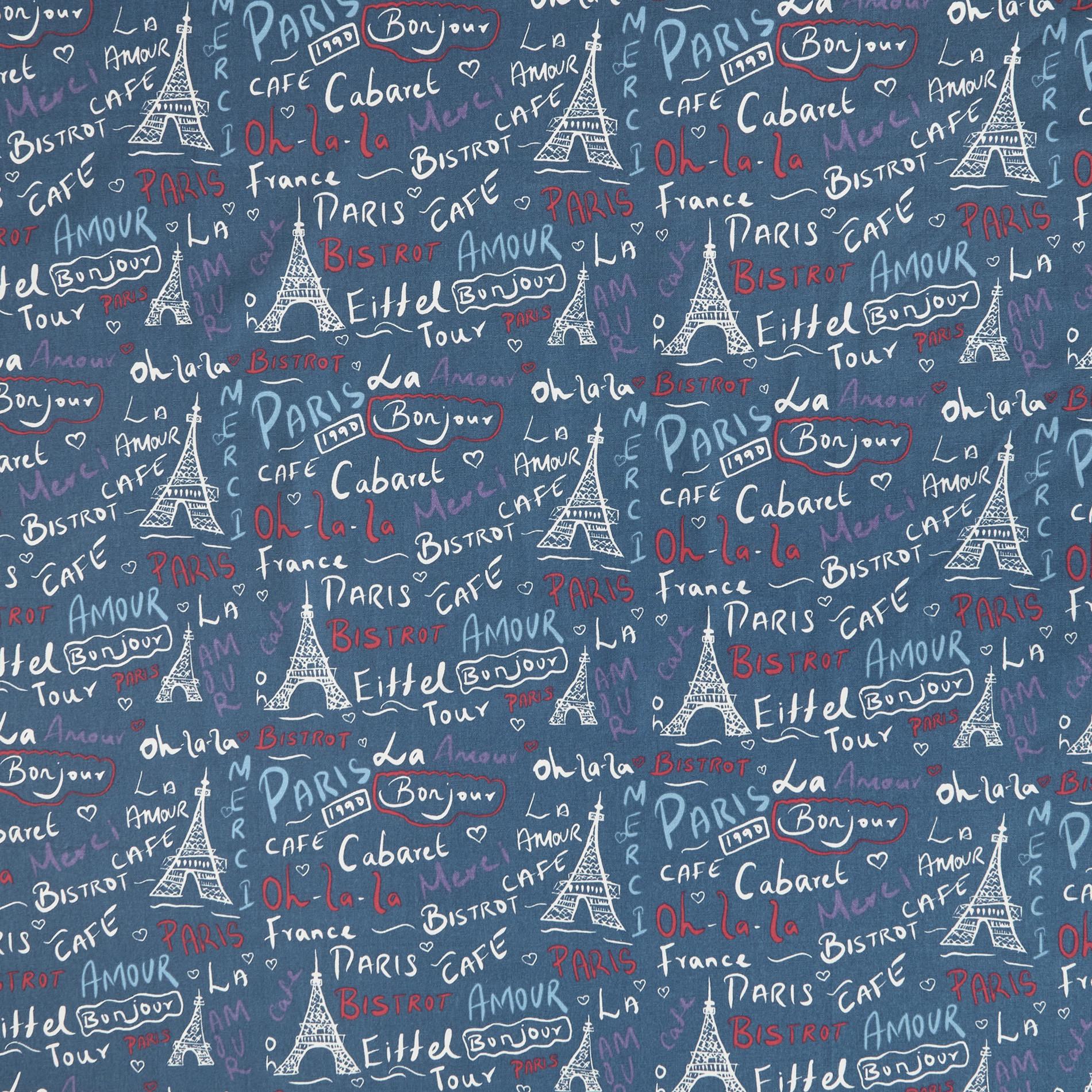 Tovaglia puro cotone  stampa Paris, Blu, large image number 1