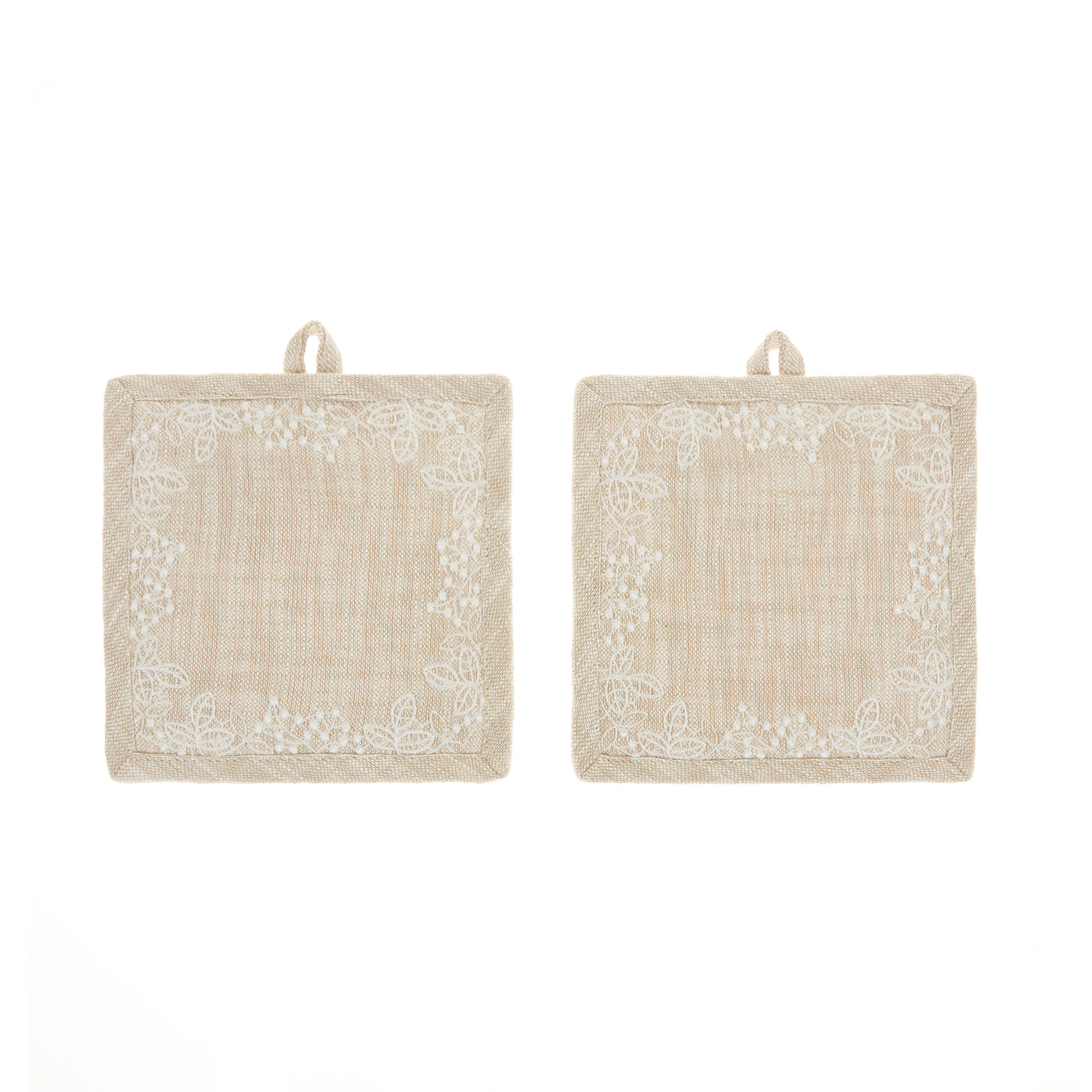 Set 2 presine puro cotone fiammato con ricami, Beige chiaro, large image number 0