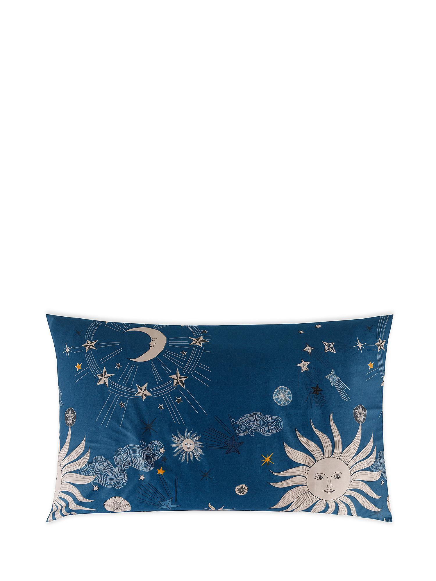 Federa raso di cotone fantasia sole e luna, Blu, large image number 0
