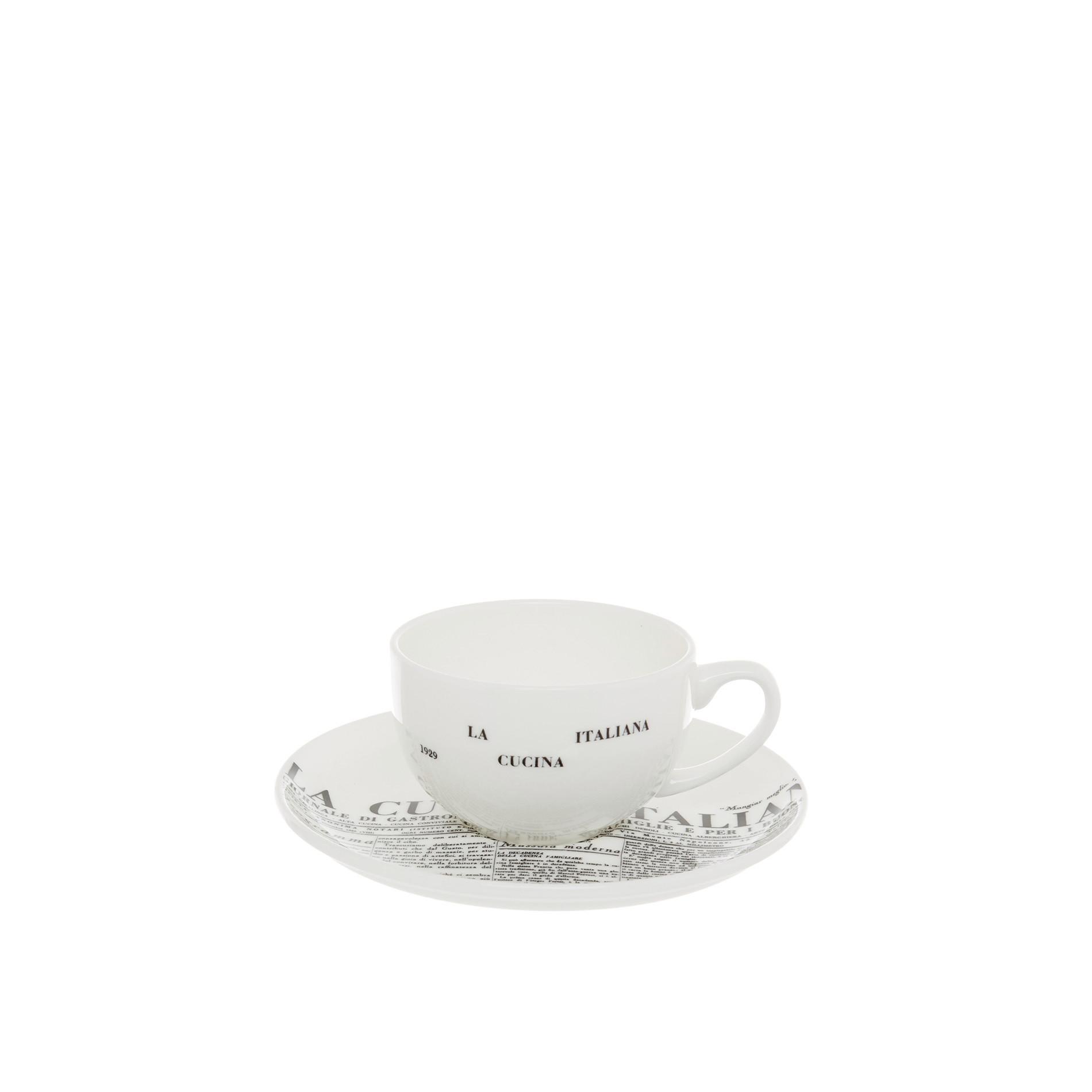 Tazza caffè  fine bone china decoro geometric  La Cucina Italiana, Bianco, large image number 0