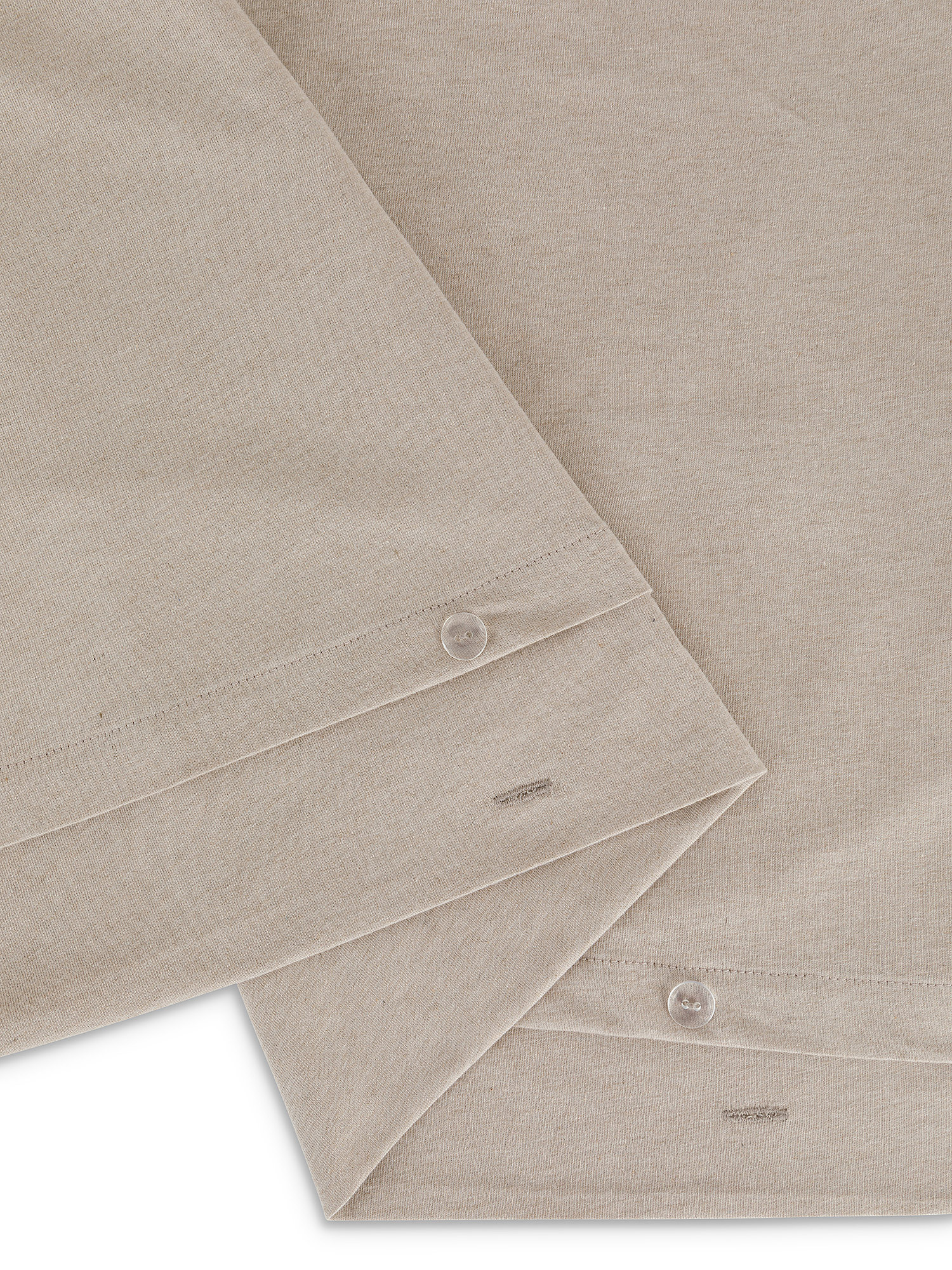 Parure copripiumino jersey di cotone tinta unita, Beige, large image number 1