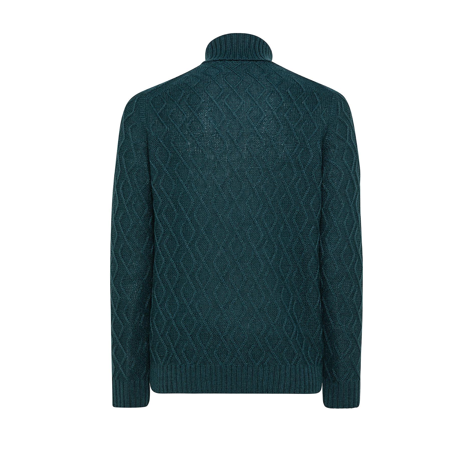 Pullover collo alto motivo a treccia, Verde scuro, large image number 1