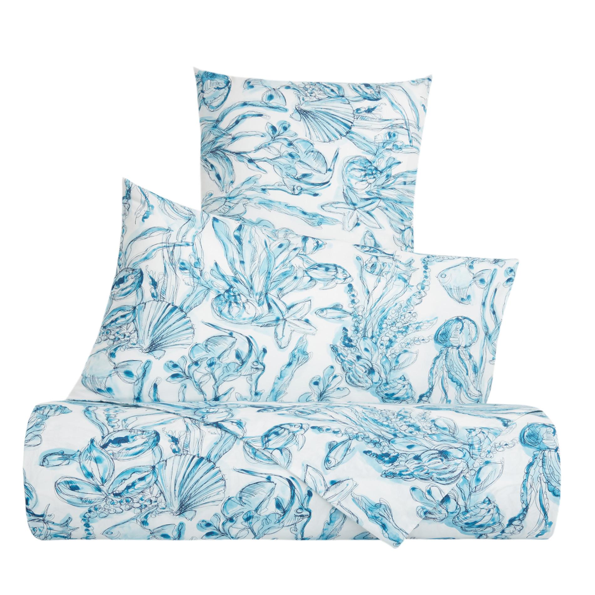 Copripiumino cotone biologico fantasia marina, Blu, large image number 0