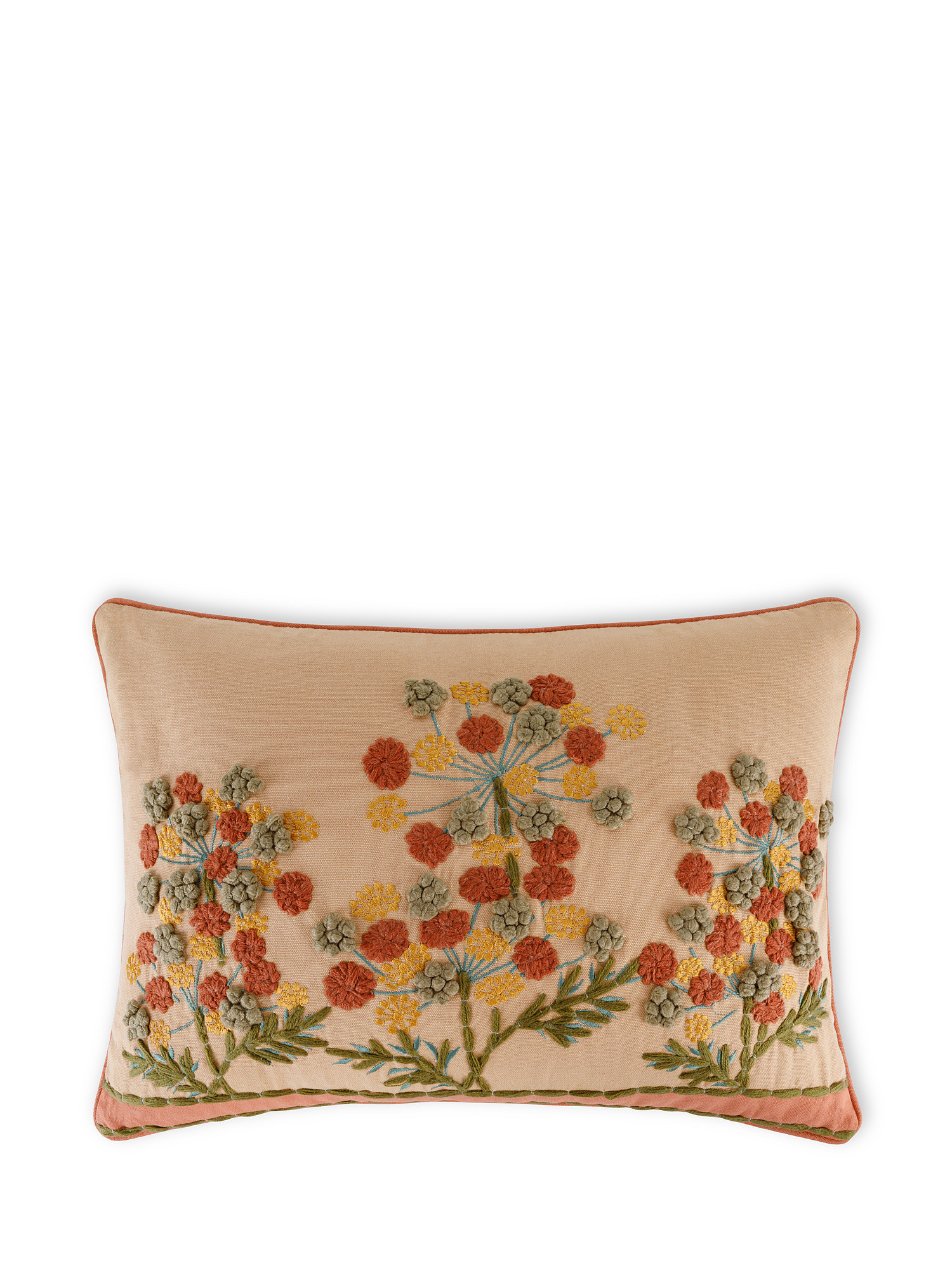 Cuscino cotone ricamo floreale 35x50cm, Multicolor, large image number 0