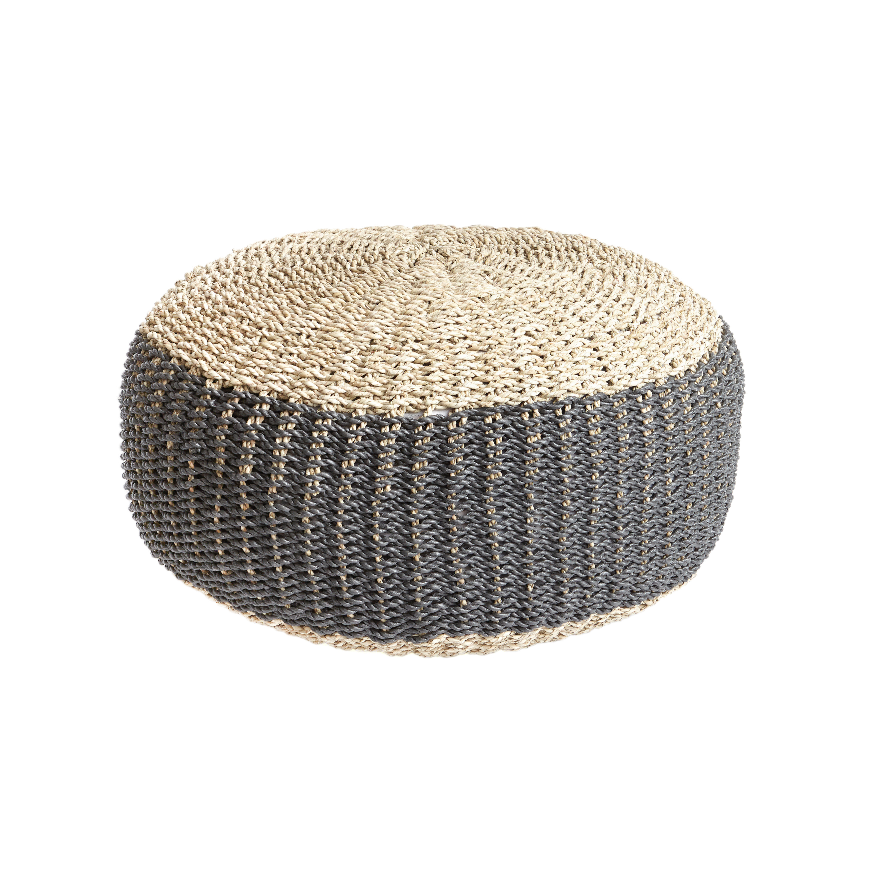 Pouf in seagrass Freya, Beige, large image number 0