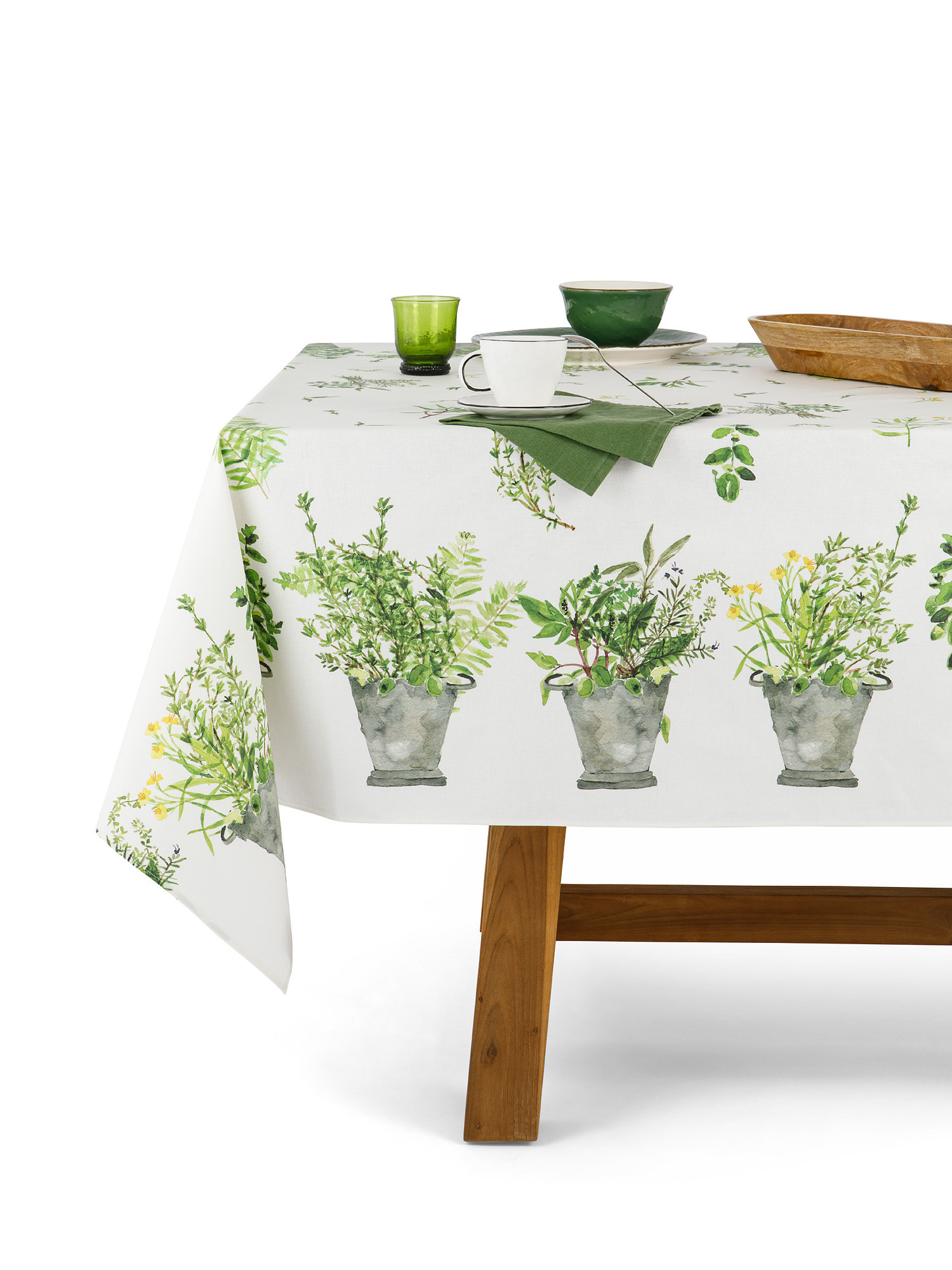 Tovaglia cotone idrorepellente stampa garden, Verde, large image number 0