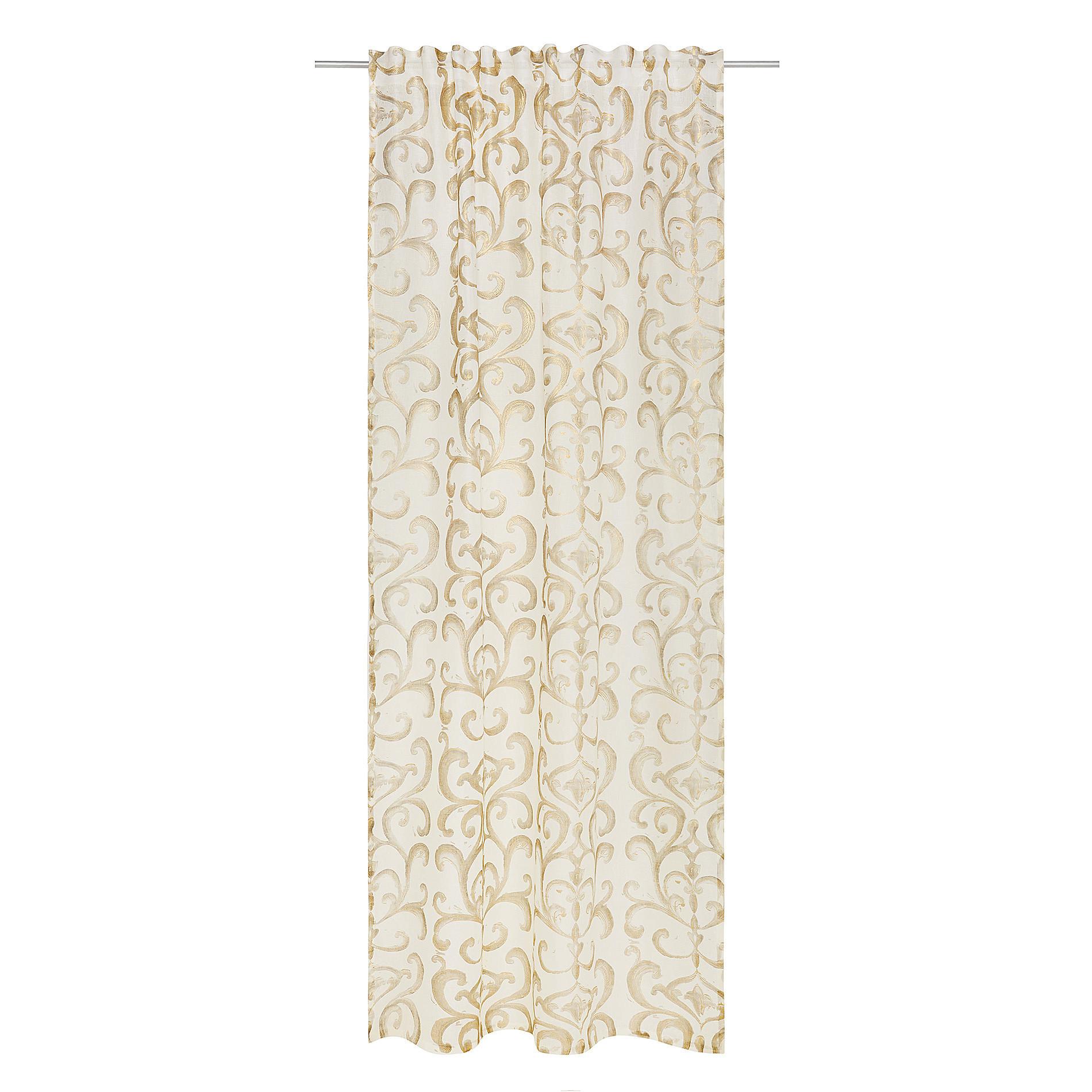 Tenda puro lino stampa devore, Bianco/Oro, large image number 1