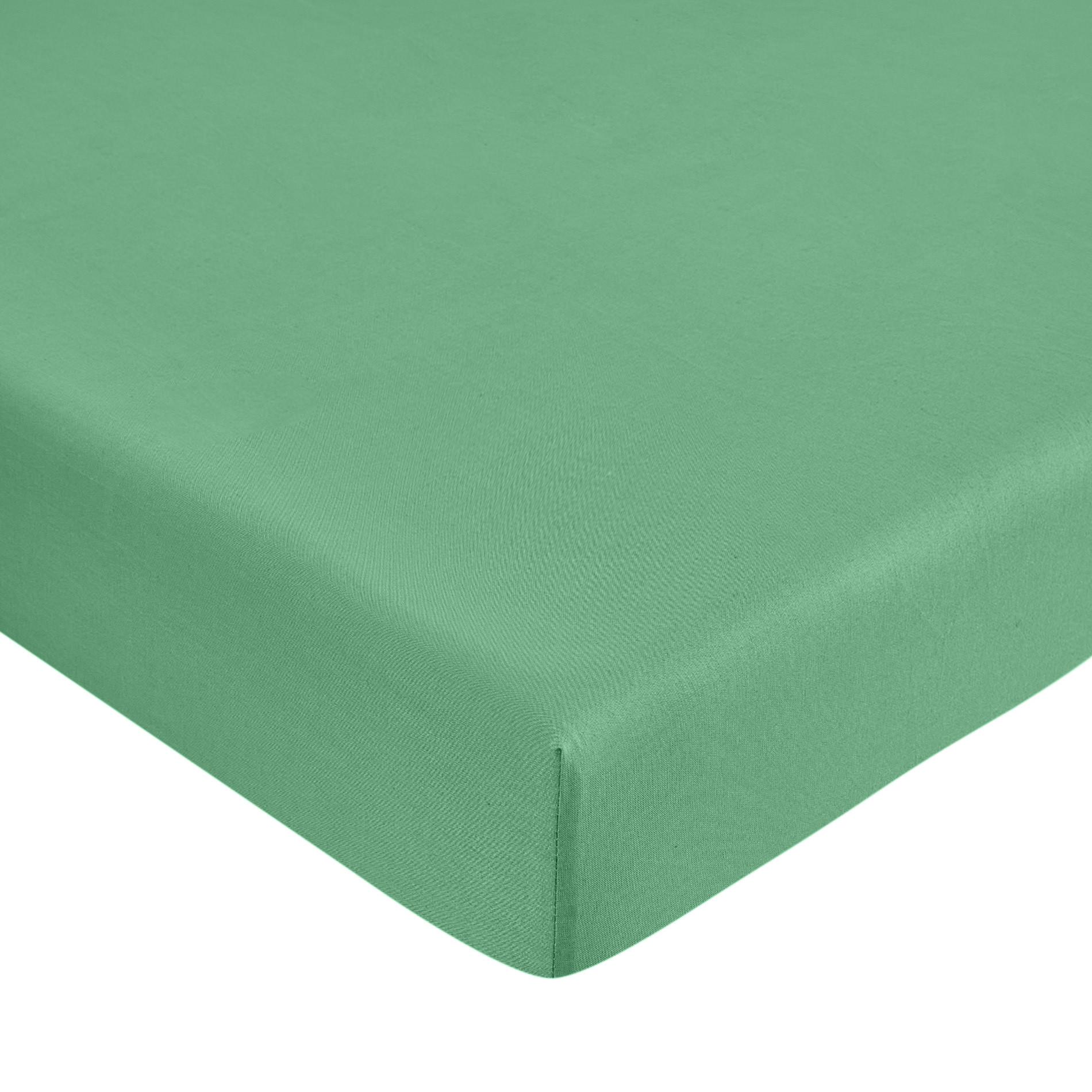 Lenzuolo con angoli puro cotone tinta unita, Verde smeraldo, large image number 0