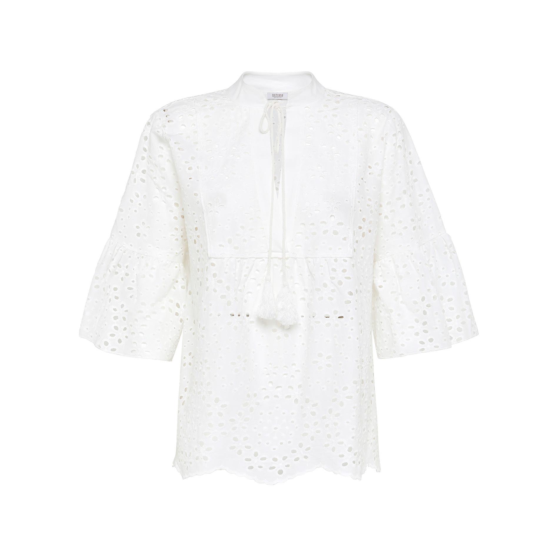 Camicia in sangallo di cotone tinta unita, Bianco, large image number 0