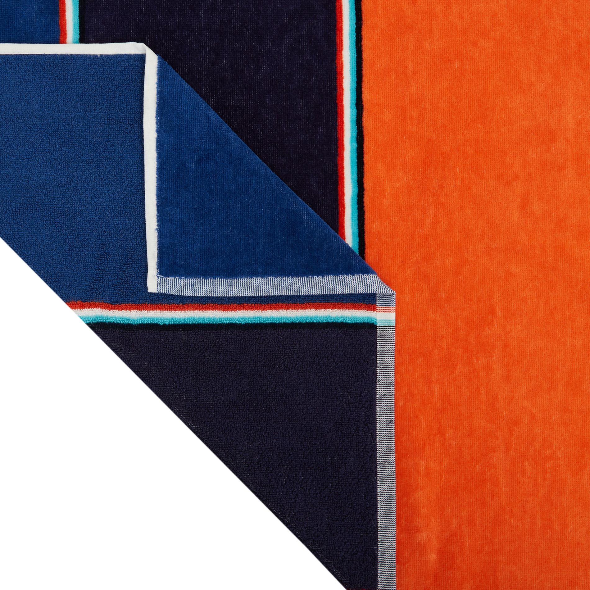 Telo mare cotone velour stampa a righe multicolore, Multicolor, large image number 1
