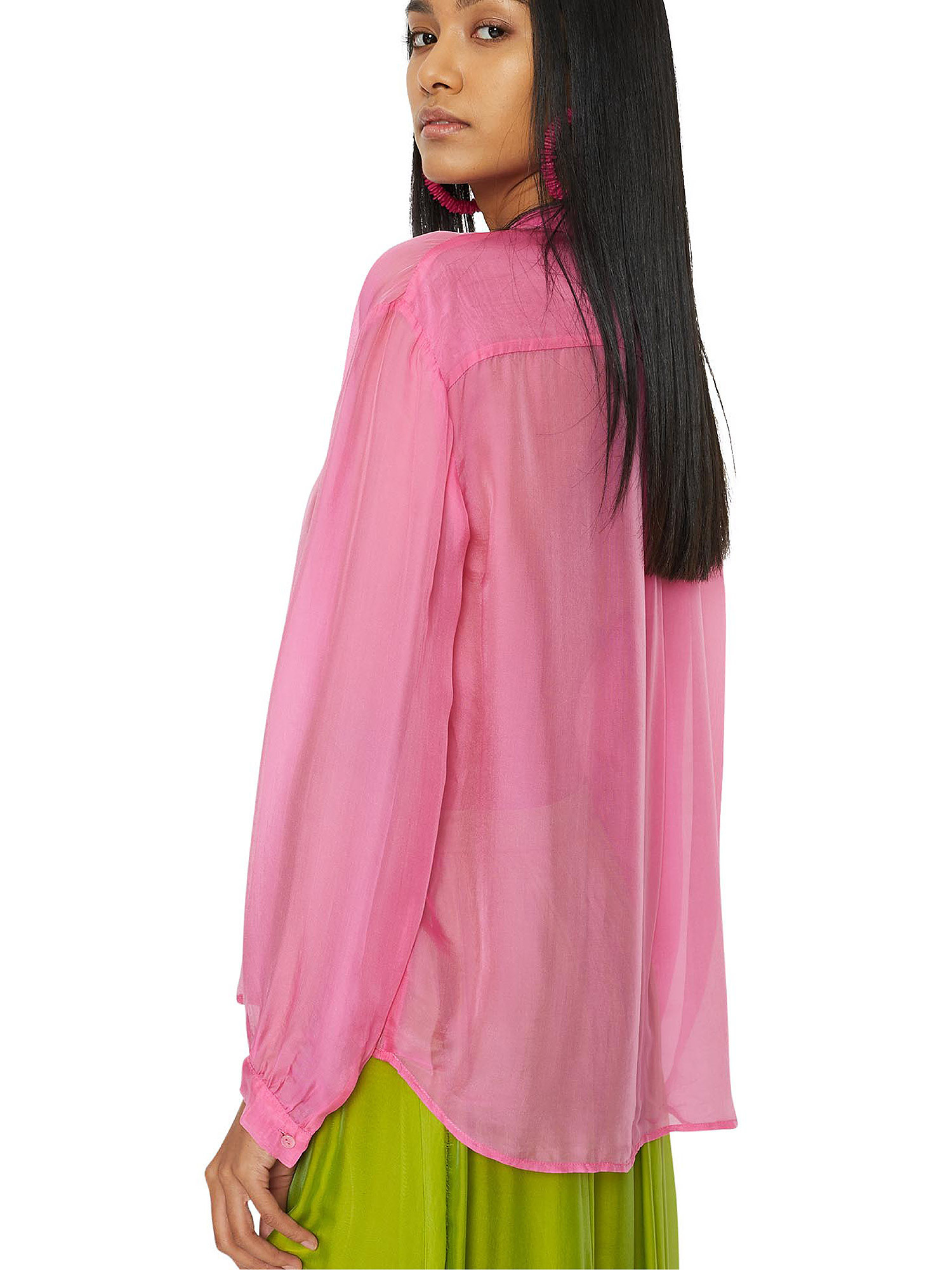 Camicia in chiffon Vanilla, Rosa fuxia, large image number 4