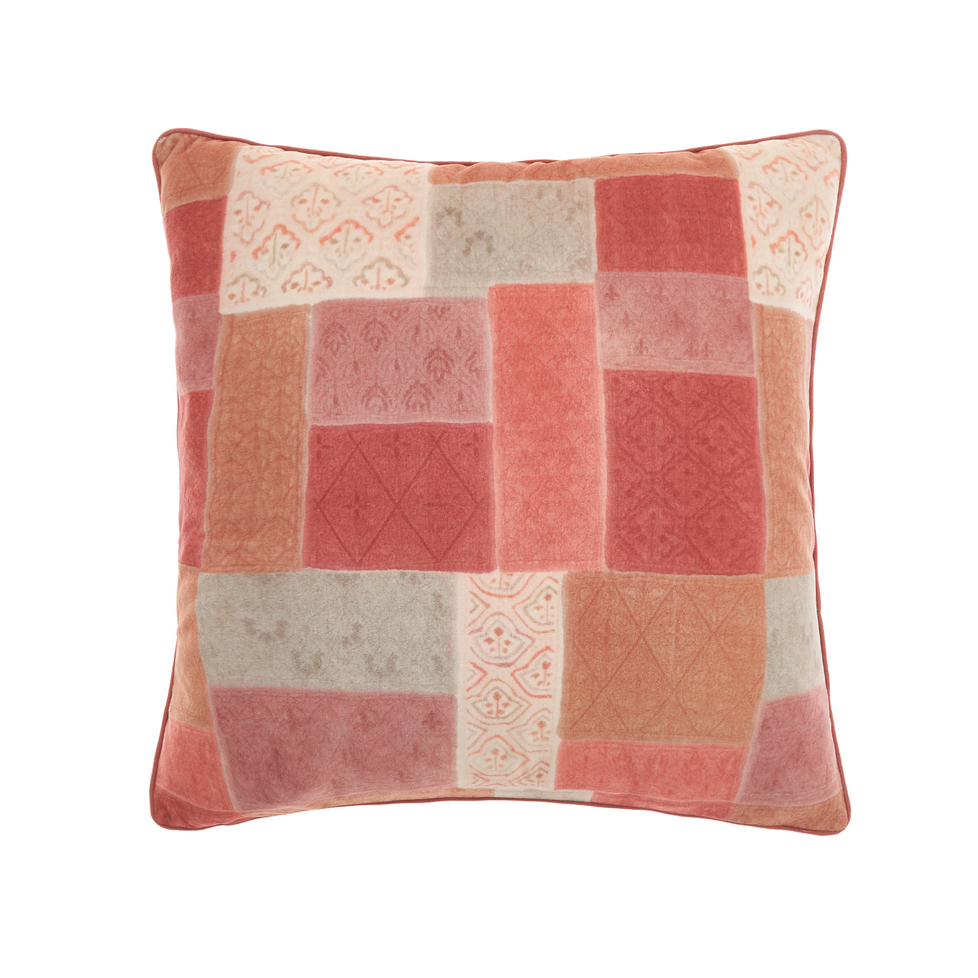 Cuscino tessuto effetto patchwork 45x45cm, Rosa, large image number 0