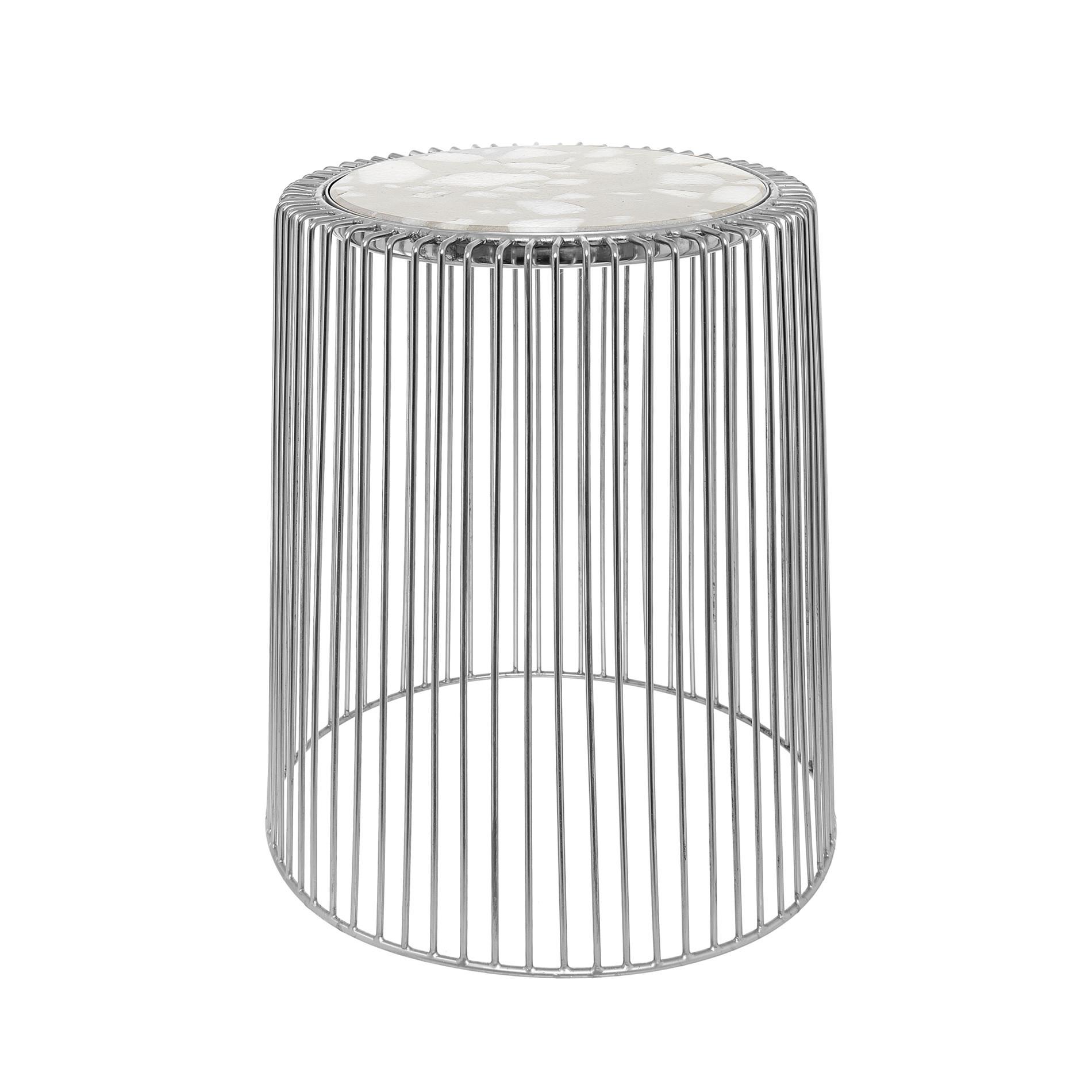 Tavolino in alluminio cromato e pietra Marble, Grigio argento, large image number 0