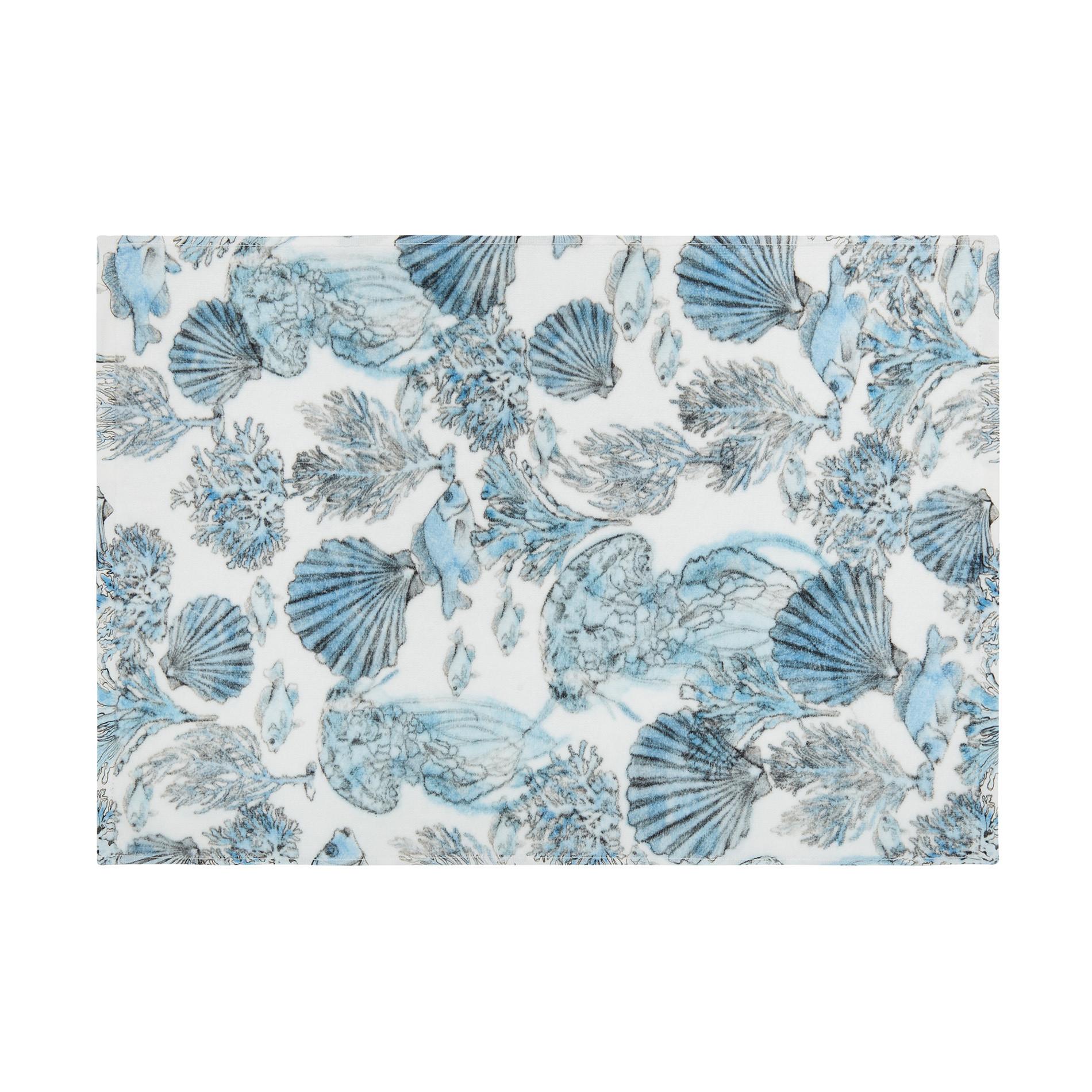 Asciugamano cotone velour stampa fondale marino, Bianco, large image number 1