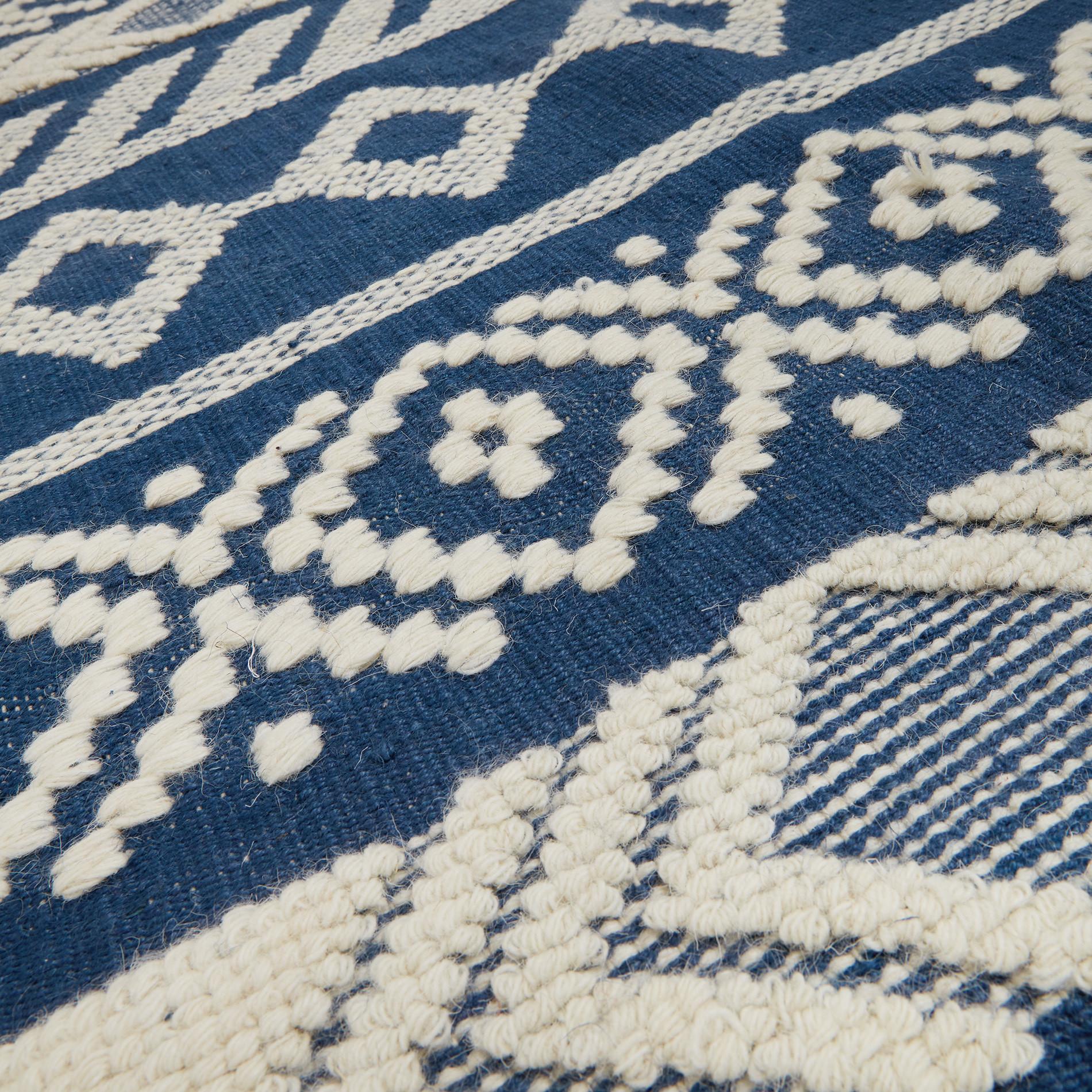 Tappeto juta e lana motivo geometrico, Blu, large image number 1