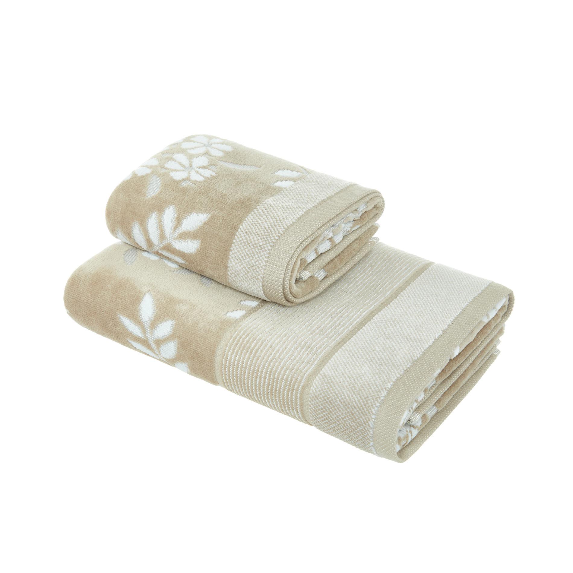 Asciugamano cotone velour motivo floreale Portofino, Beige, large image number 0