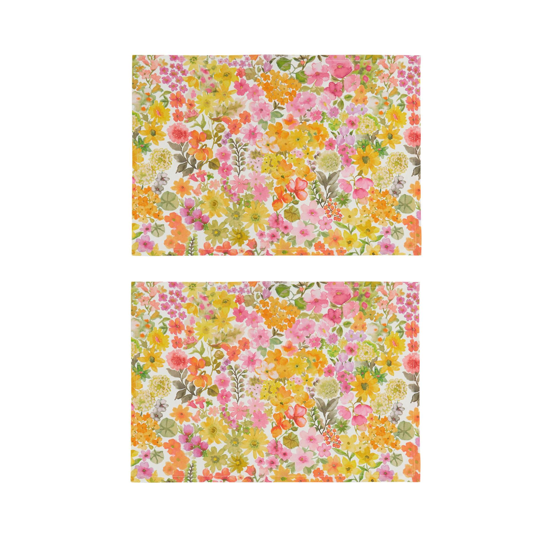 Set 2 tovagliette puro cotone stampa fiorellini, Multicolor, large image number 0