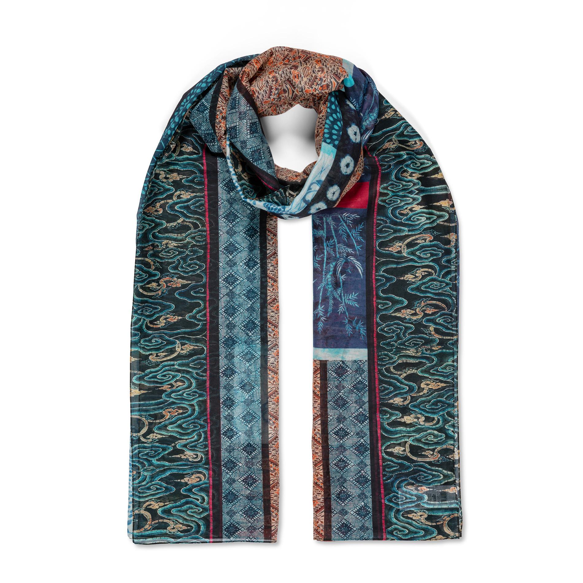Pareo misto seta stampa india Koan, Blu, large image number 1