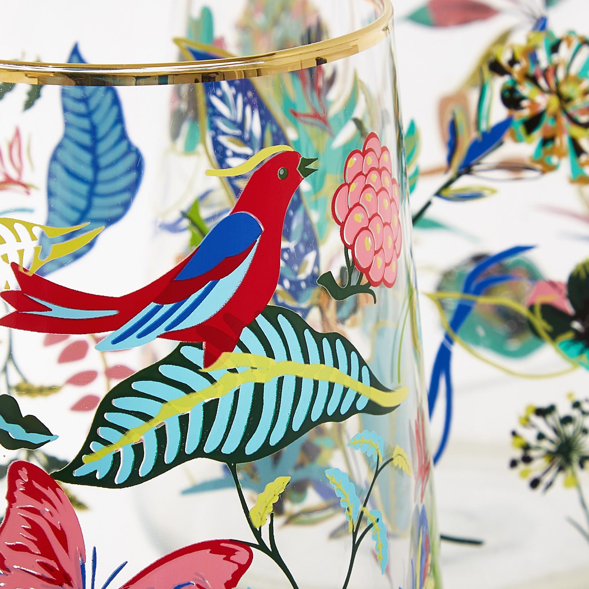 Bicchiere vetro motivo amazzonia, Trasparente, large image number 1