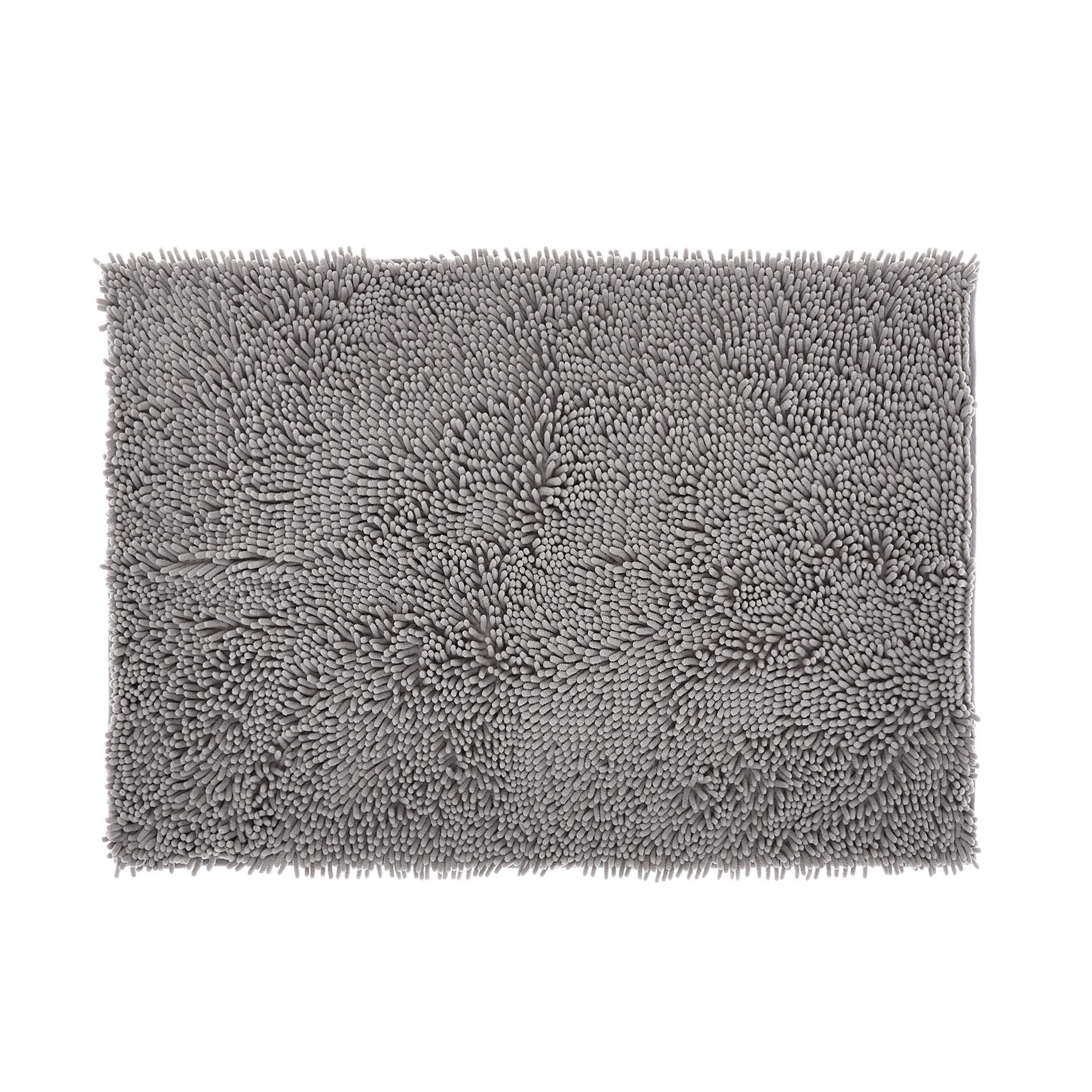 Tappeto bagno microfibra shaggy, Grigio, large image number 0