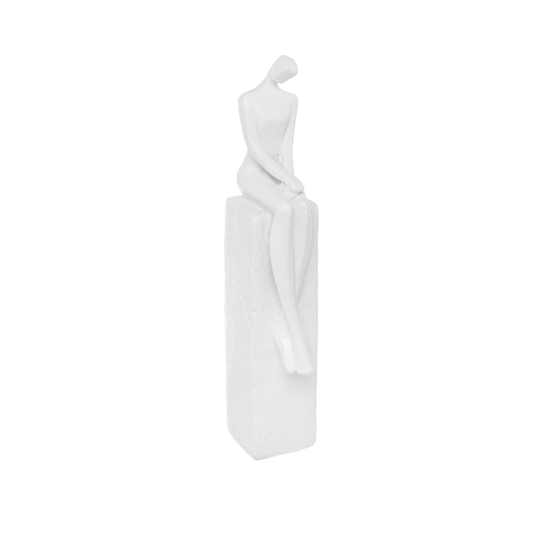 Statuetta donna seduta rifinita a mano, Bianco, large image number 0