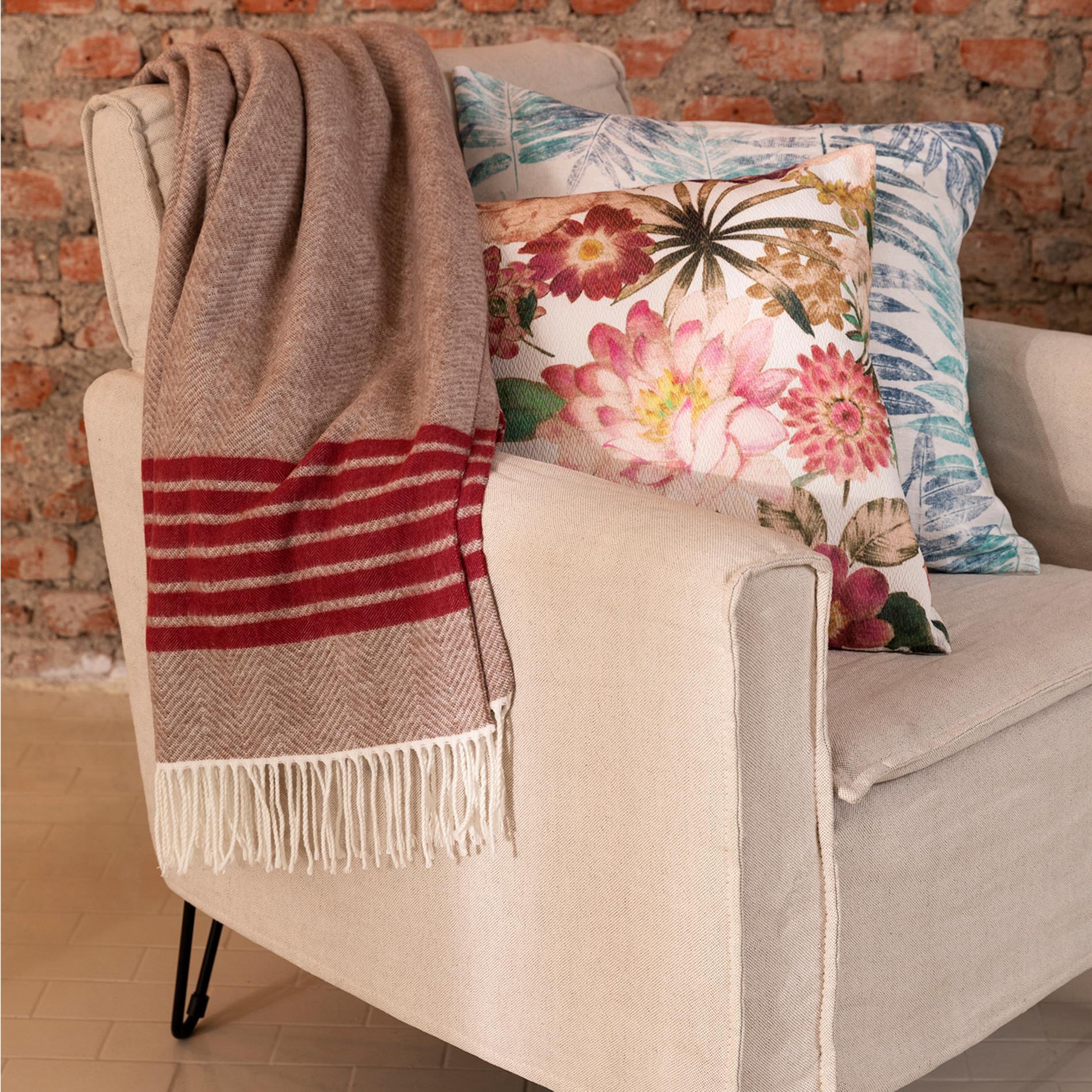 Poltrona legno e tessuto Lina, Bianco, large image number 2