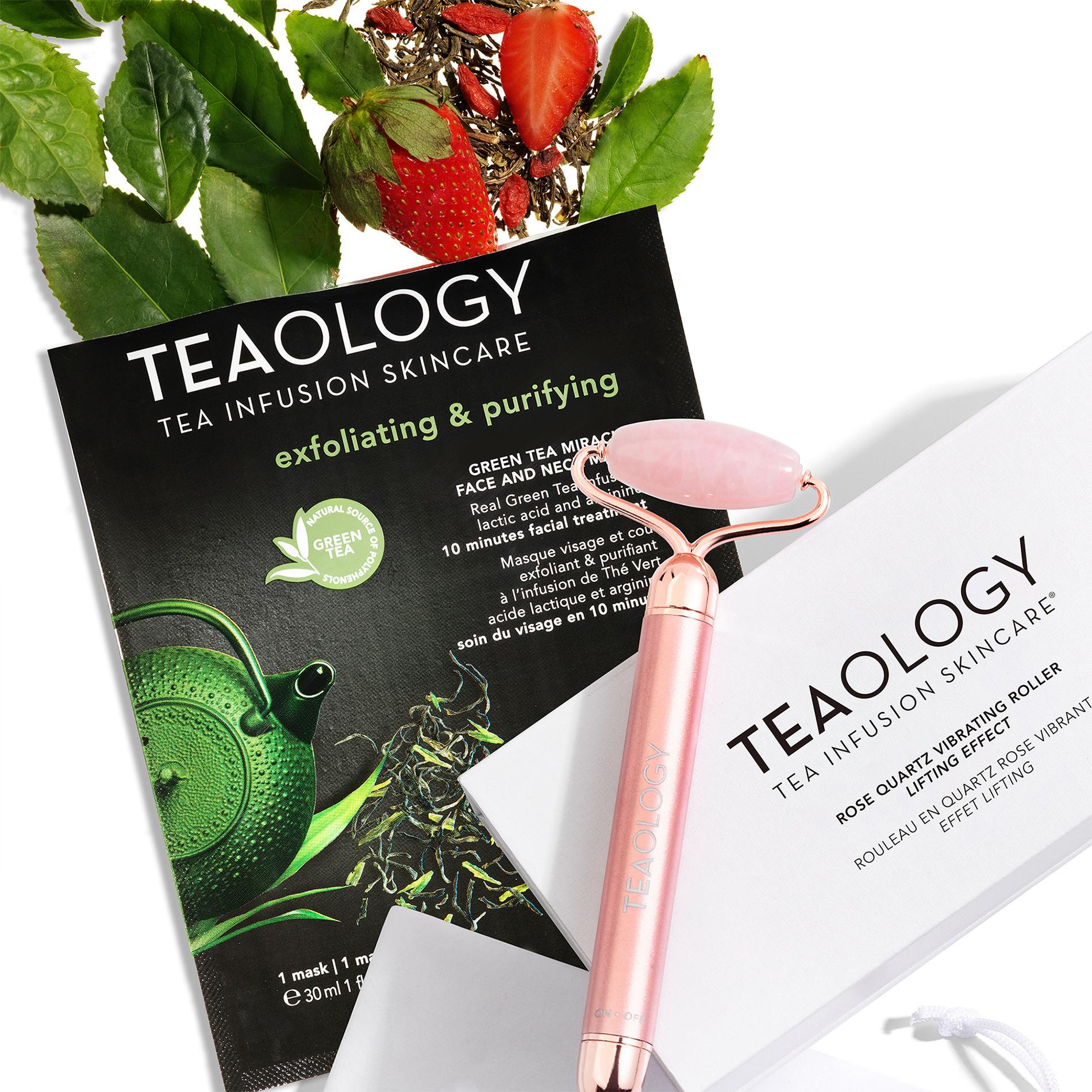 Rose Quartz Vibrating Face Roller, Bianco, large image number 2