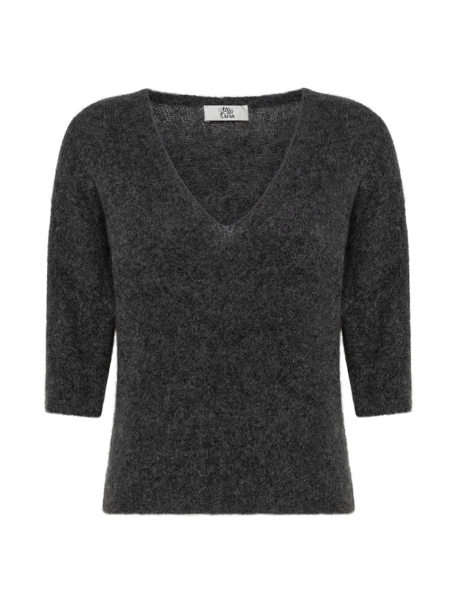 Maglia in kid mohair stretch, Grigio, large image number 0