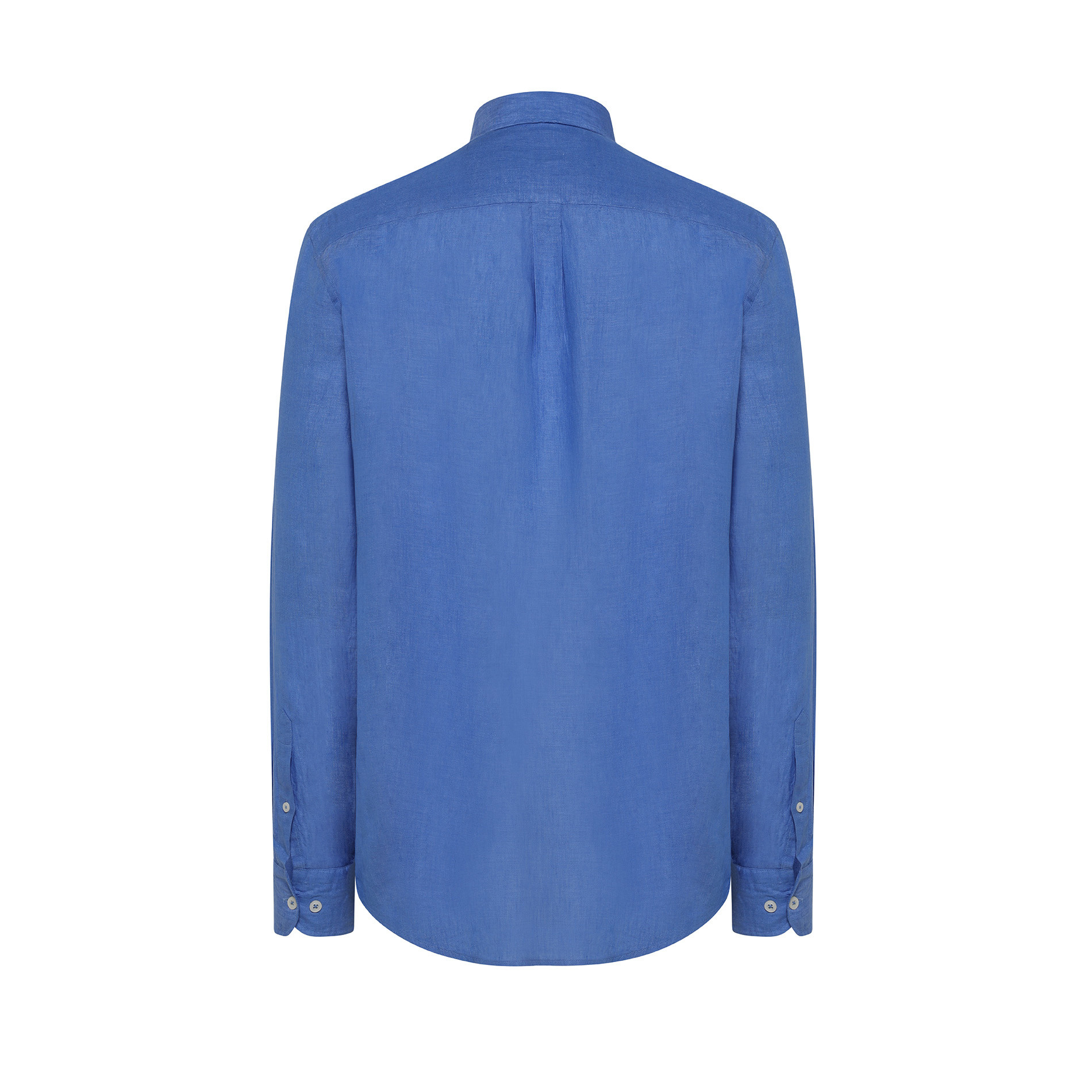 Camicia puro lino tailor fit Luca D'Altieri, Azzurro scuro, large image number 1