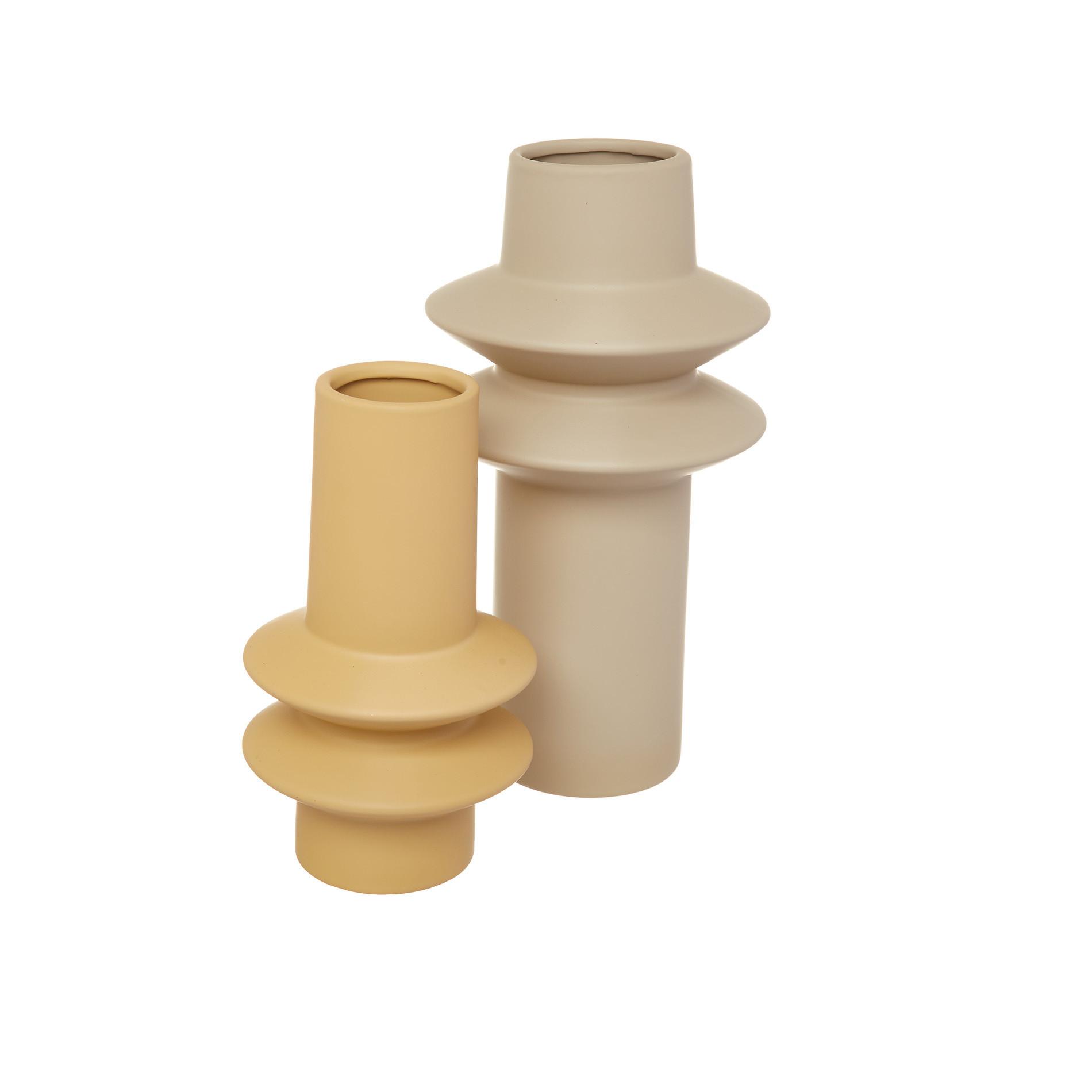Vaso ceramica con anelli, Giallo ocra, large image number 2