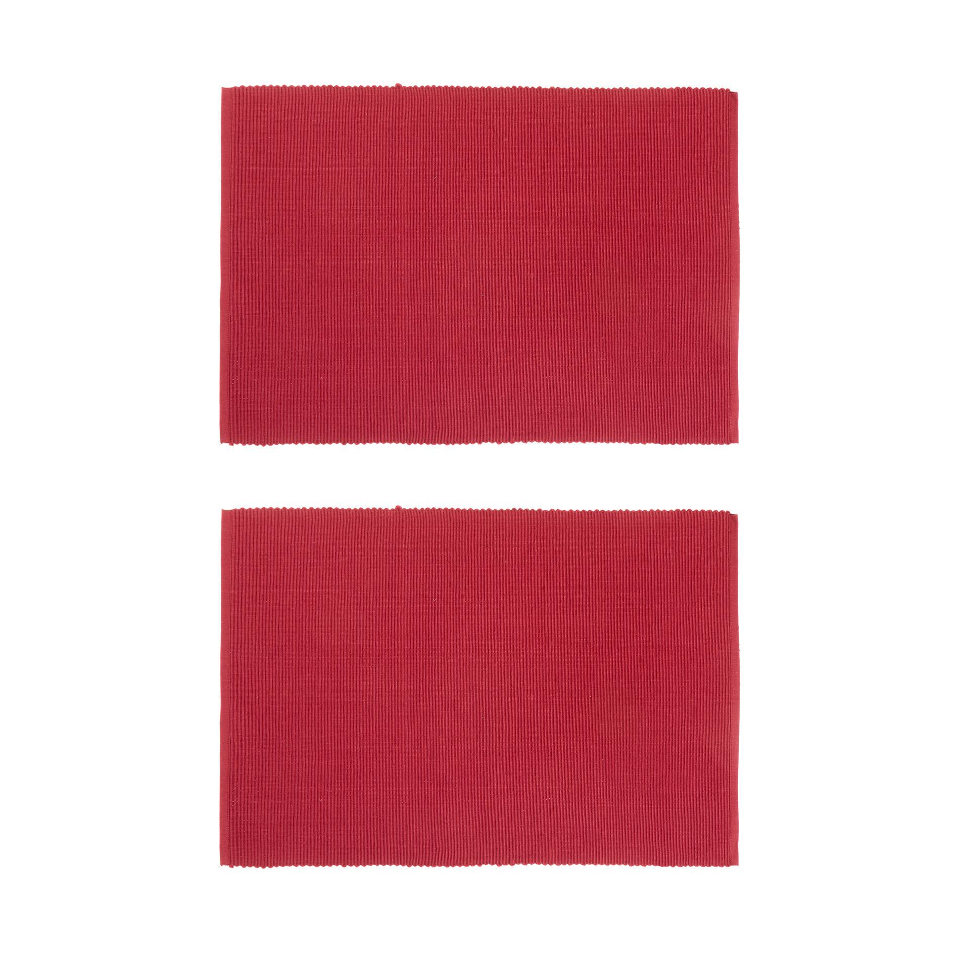 Set 2 tovagliette puro cotone tinta unita, Rosso, large image number 0